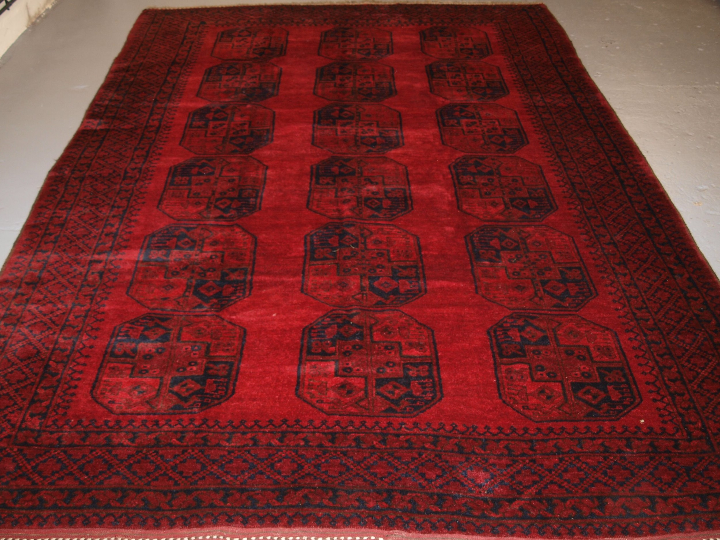 old traditional red afghan village carpet perfect condition circa 1920