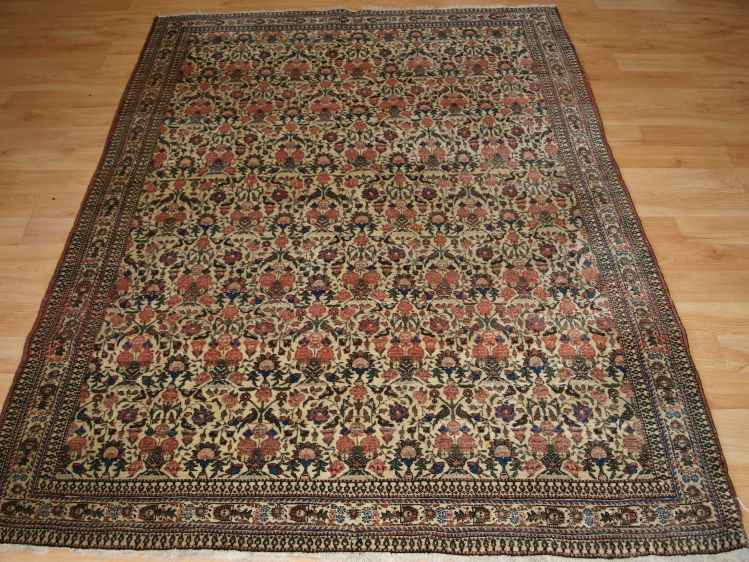 antique persian abedeh rug with zili sultan design superb soft colours circa 1900