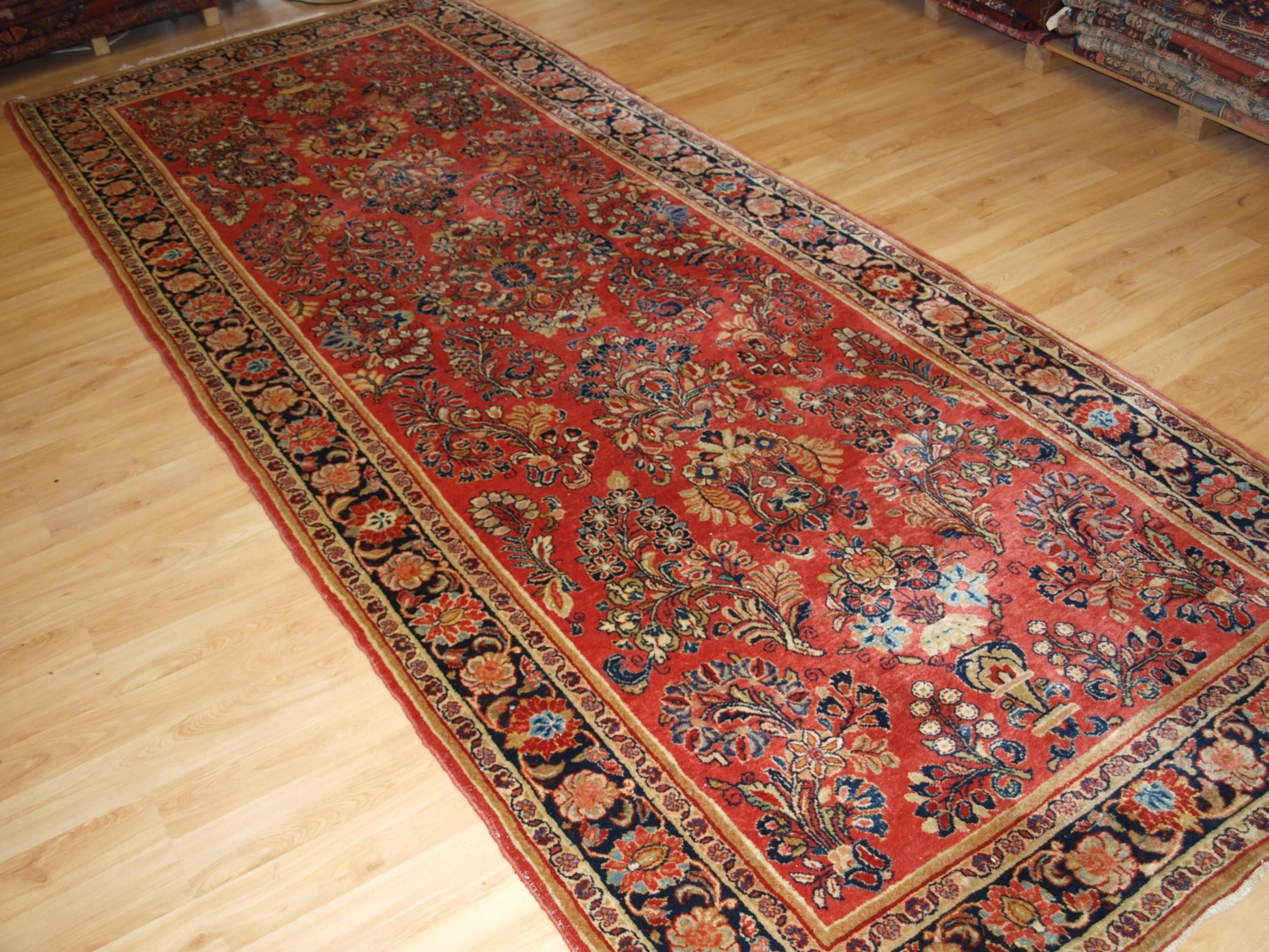 antique sarouk kelleh long rug superb condition great colour circa 190020