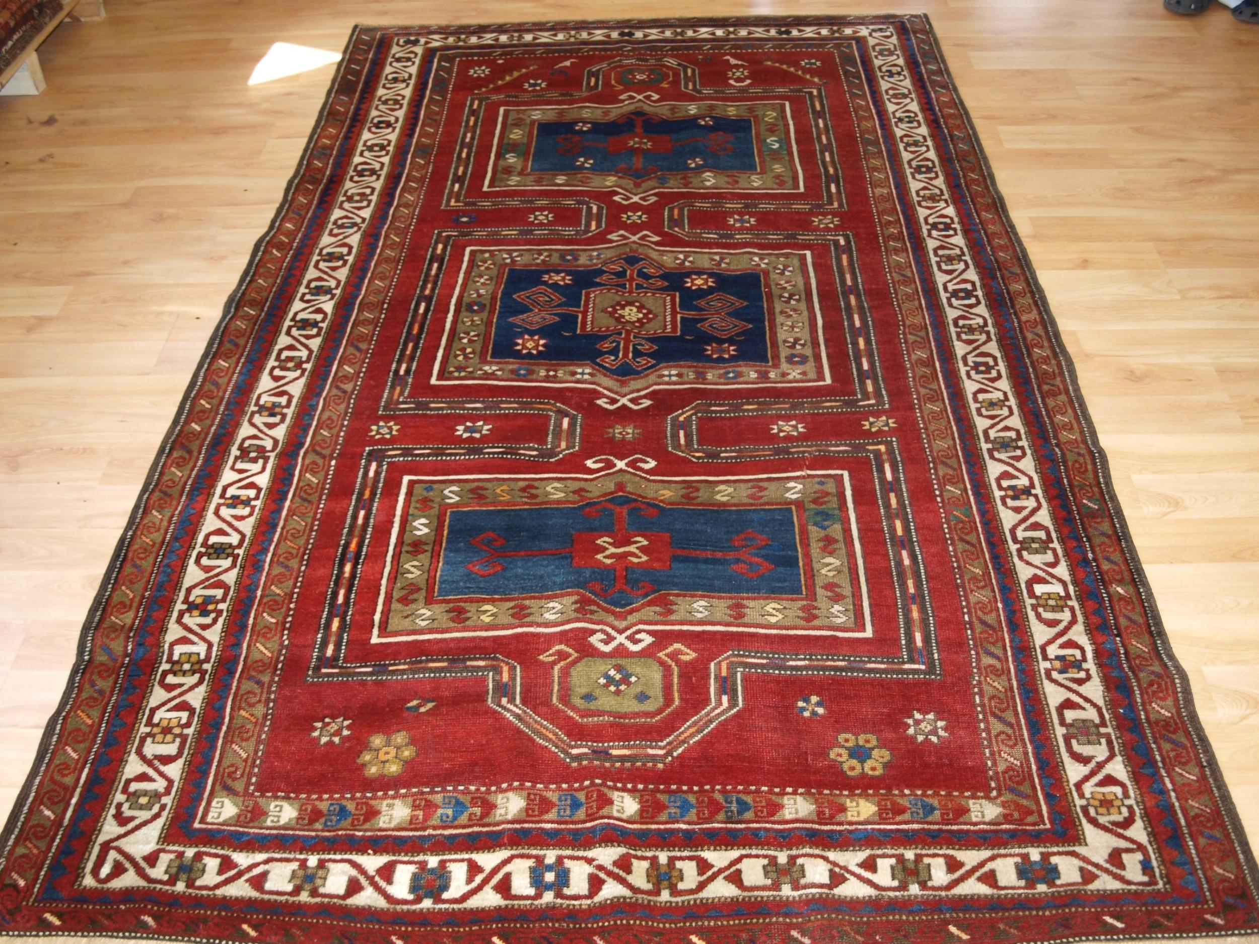 antique caucasian fachralo kazak long rug with niche design circa 1900