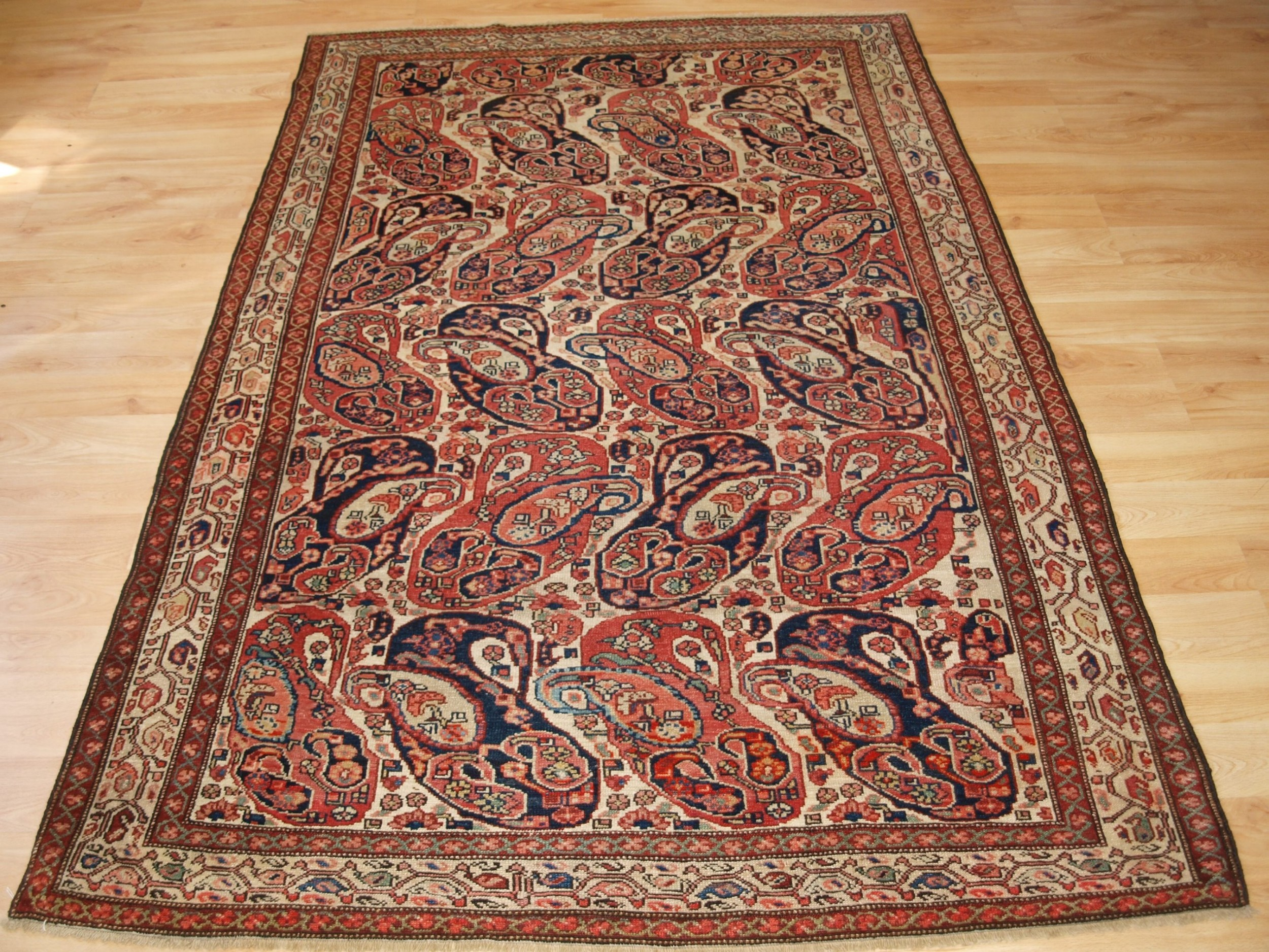 antique malayer village rug mother and child boteh design circa 1900