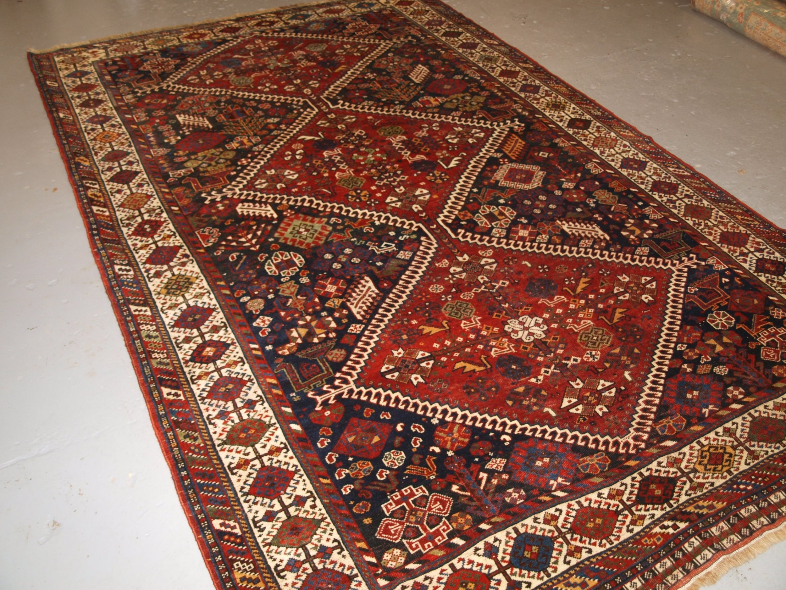 antique south west persian tribal qashqai carpet outstanding example circa 1880