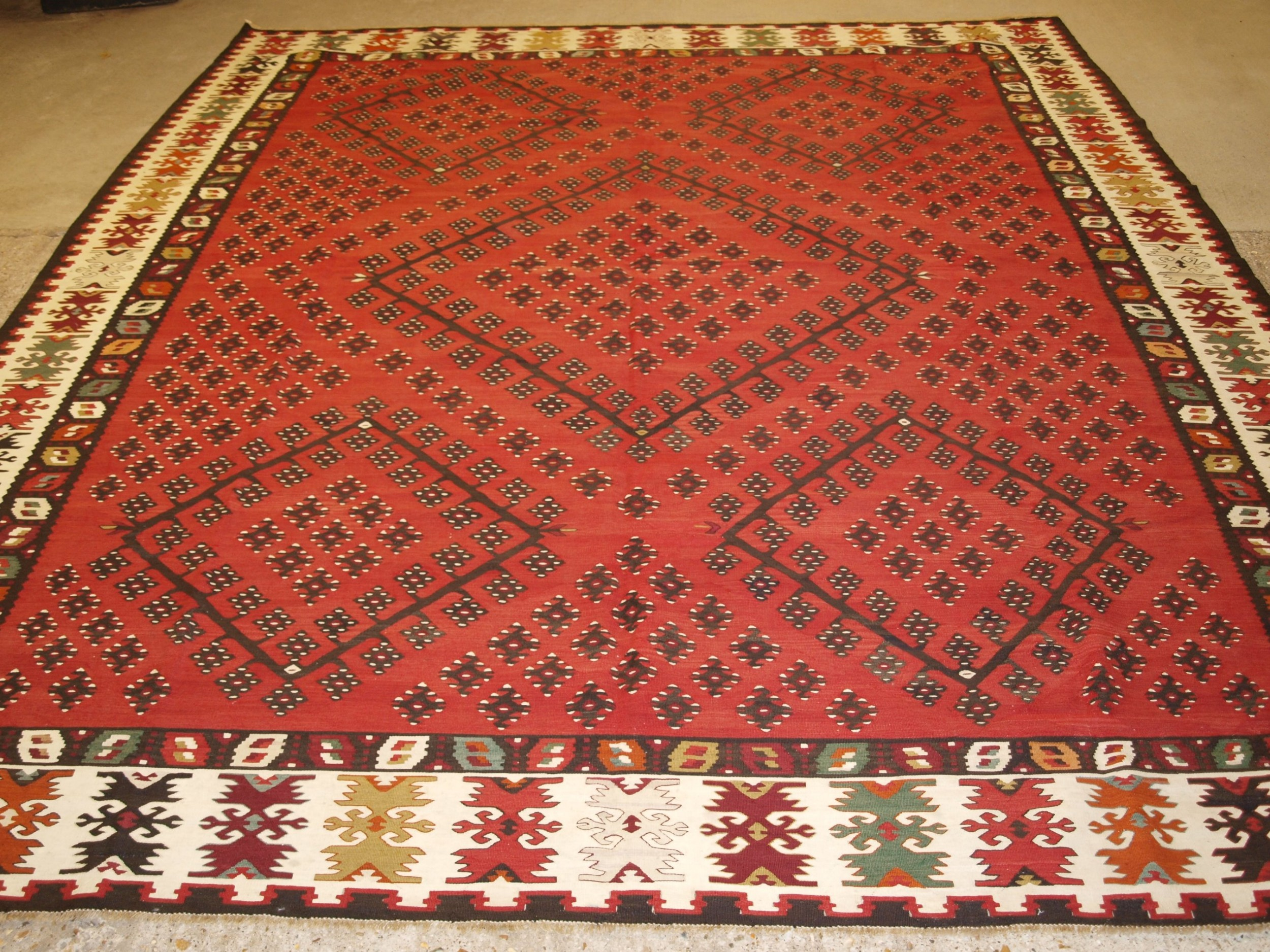 old sharkoy kilim of large size with traditional design circa 1920