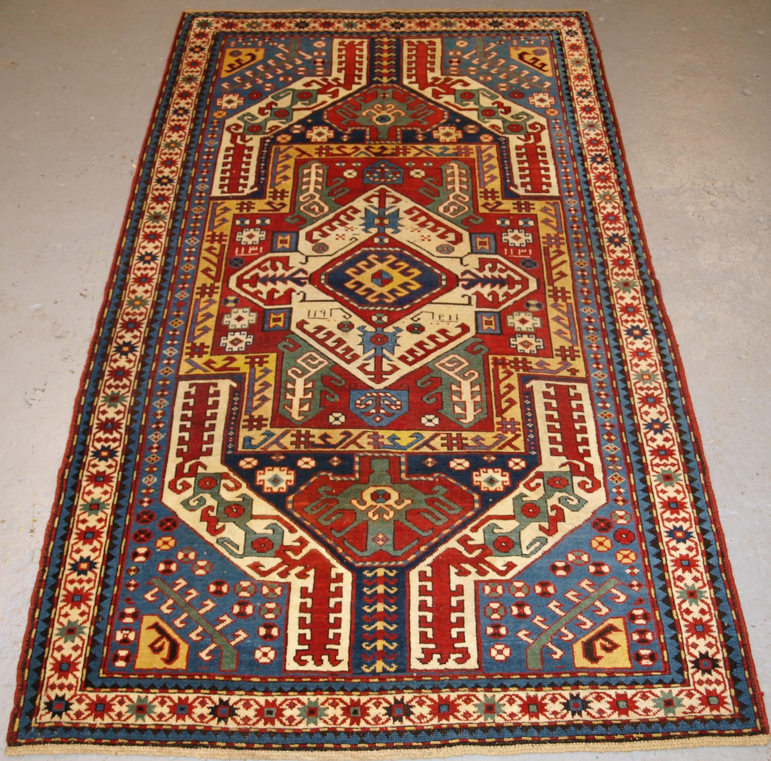 antique caucasian kasimusag rug classic design with superb colour dated 1893