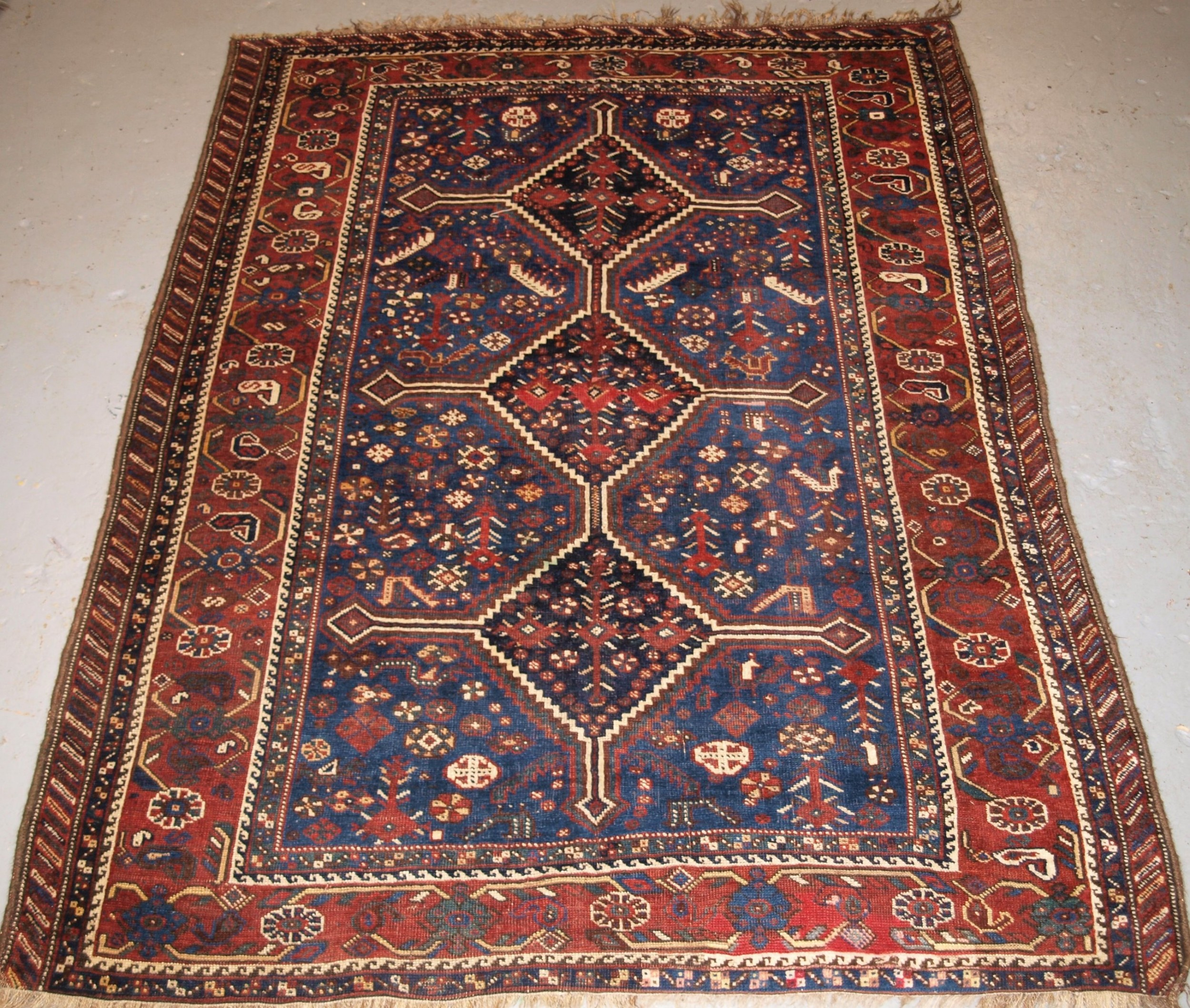 antique tribal khamseh rug triple linked medallion circa 1900