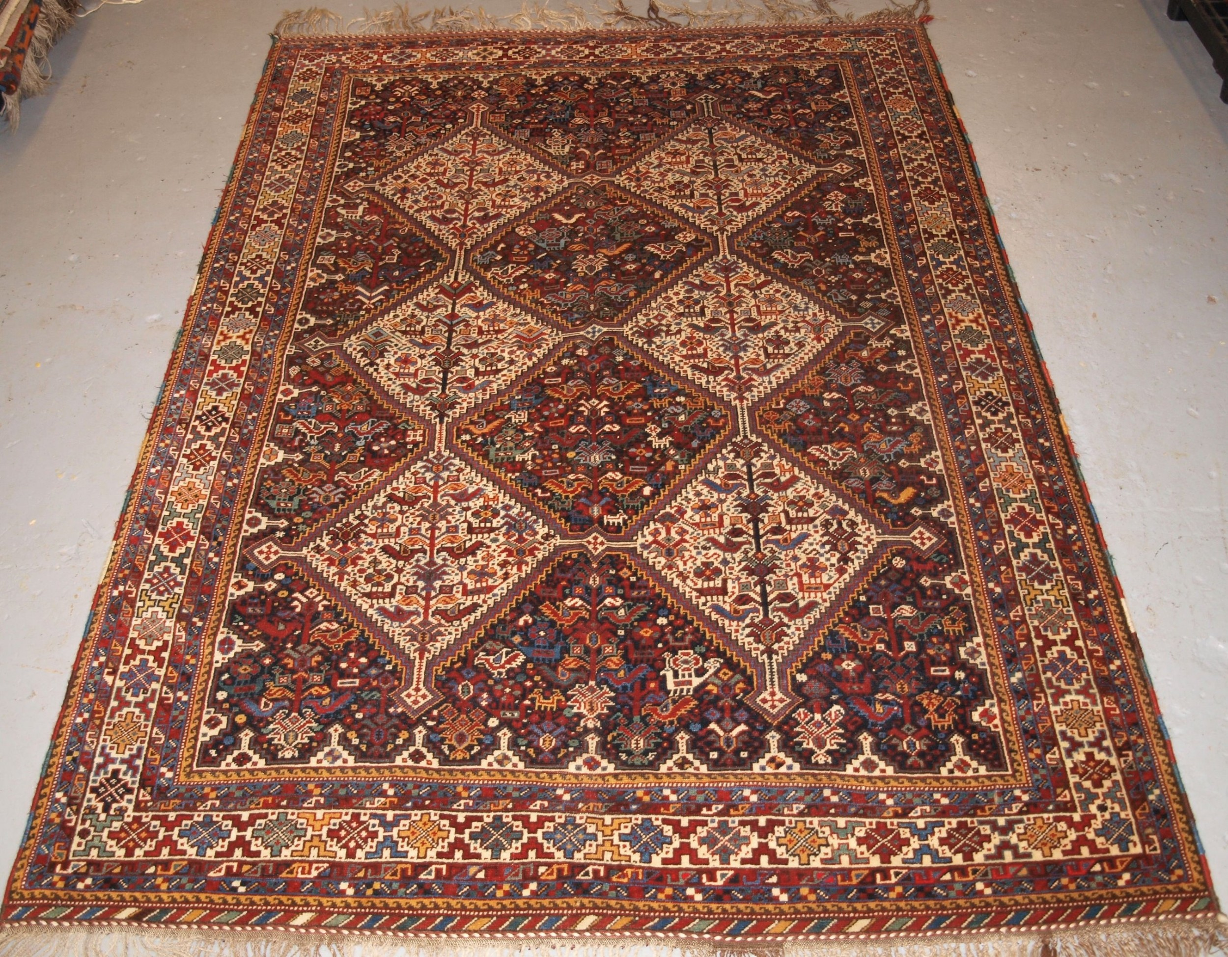 antique south west persian khamseh bird rug superb example circa 1900