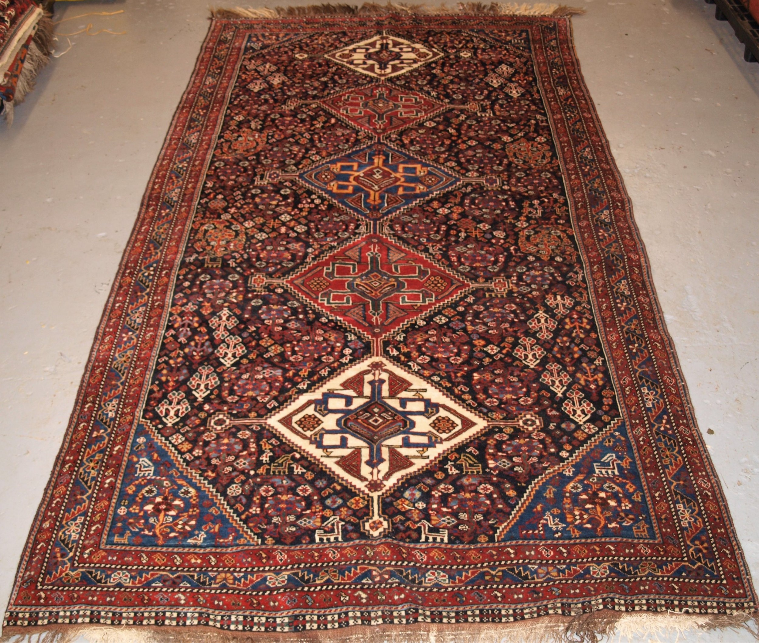 antique south west persian qashqai rug tribal design with great colour late 19th century