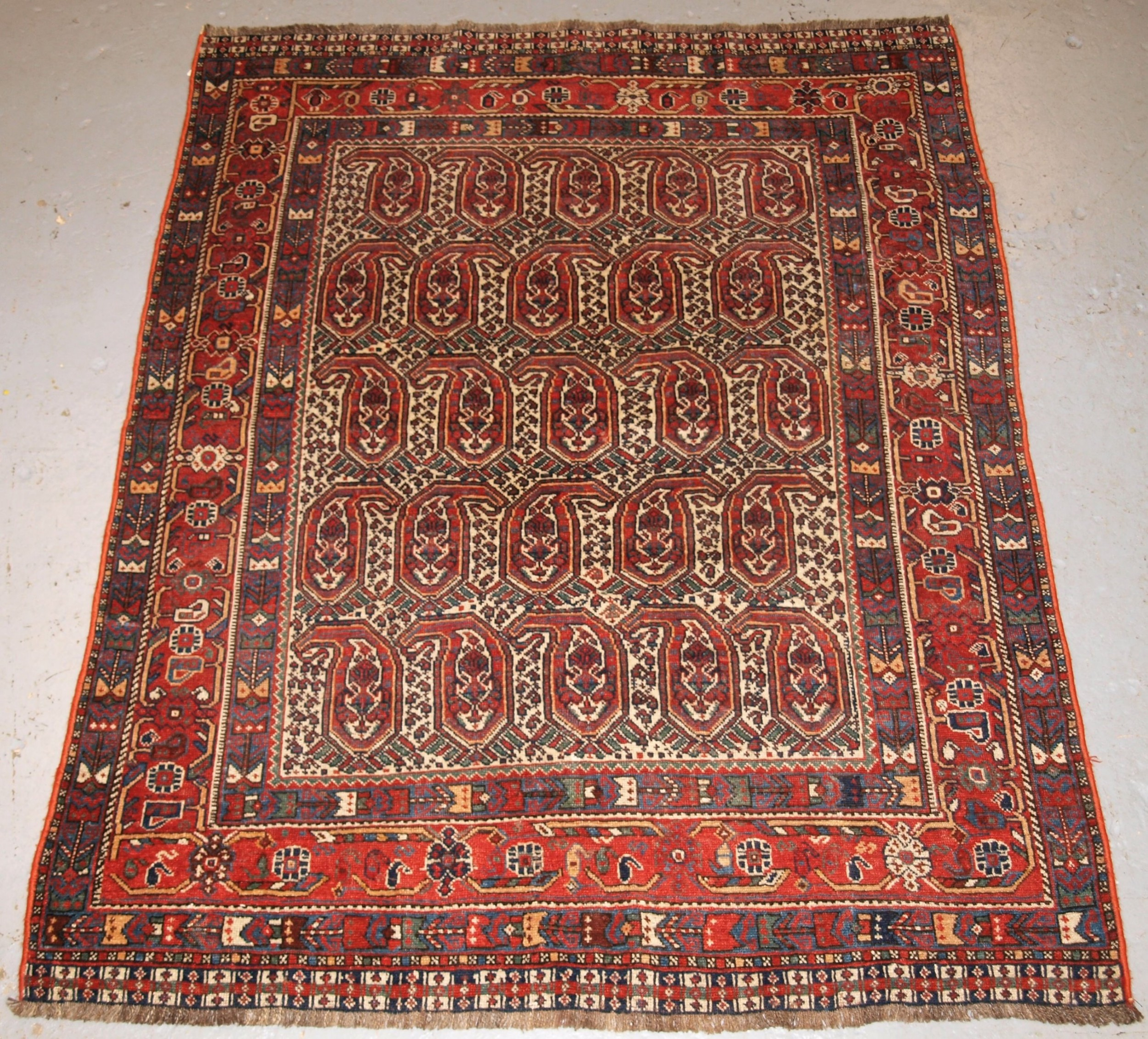 antique south west persian khamseh rug with repeat boteh design circa 1900