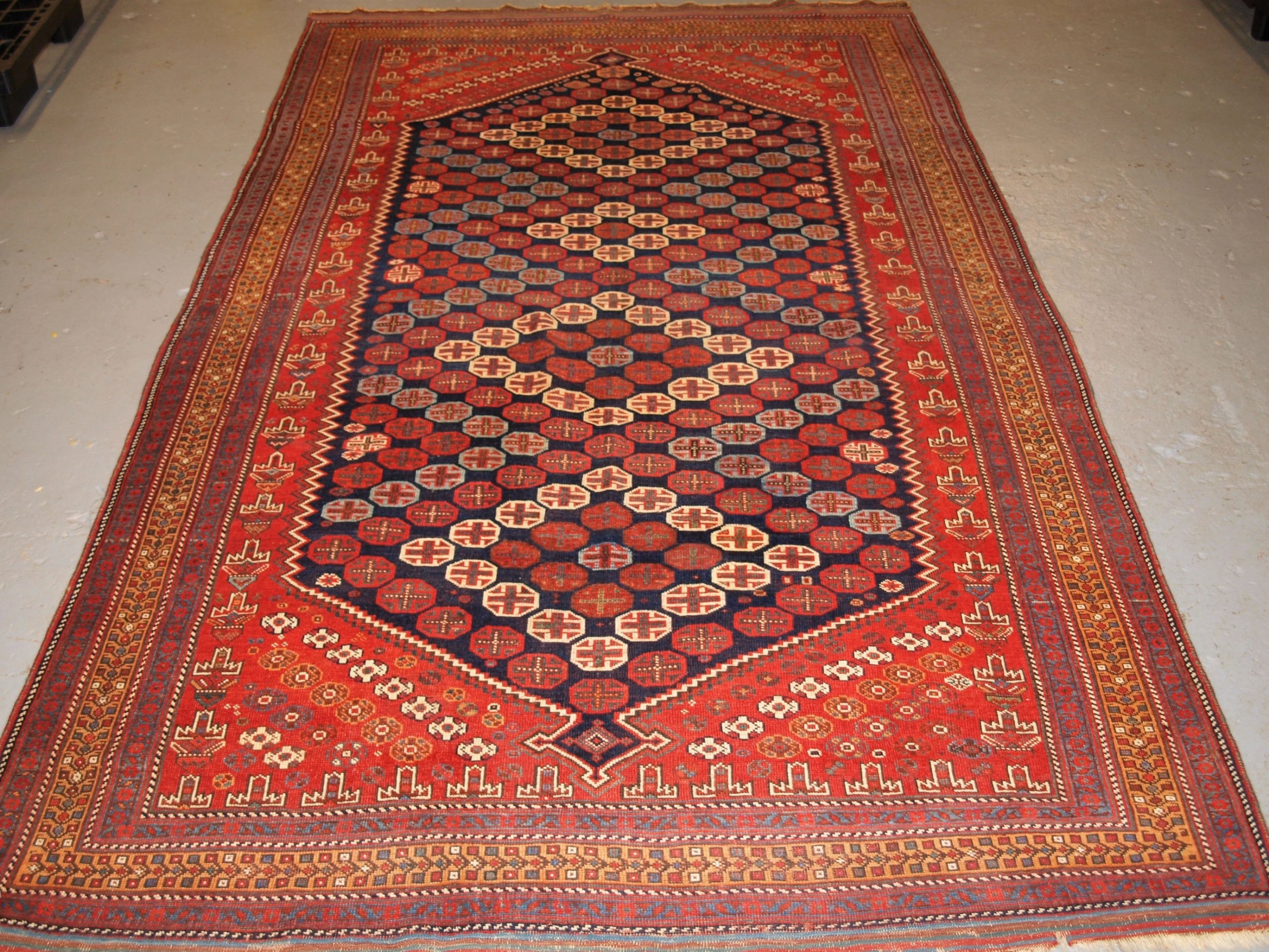 antique afshar long rug excellent design and colour circa 1880