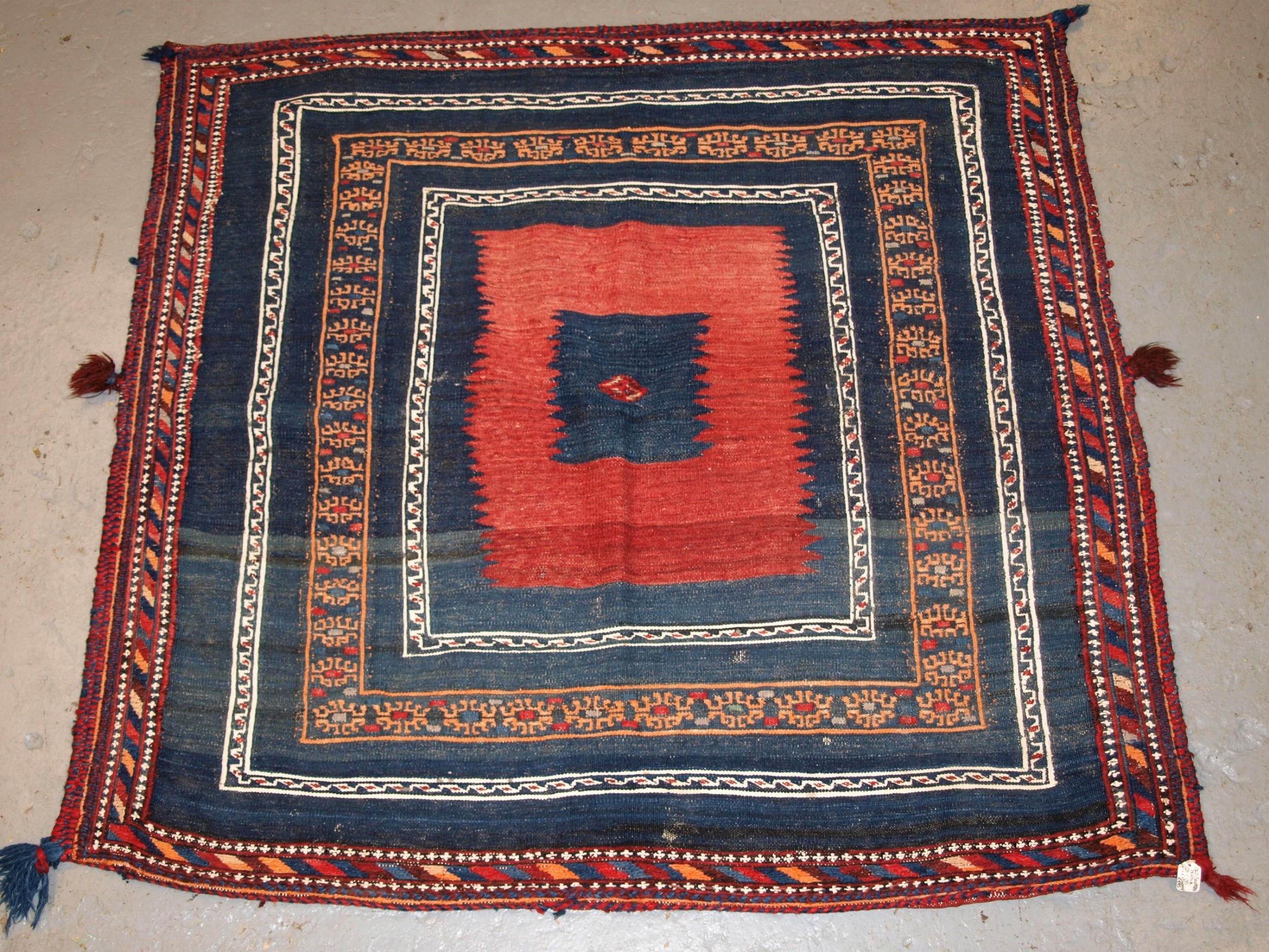 antique south persian afshar sofreh eating cloth mixed weave techniques circa 190020