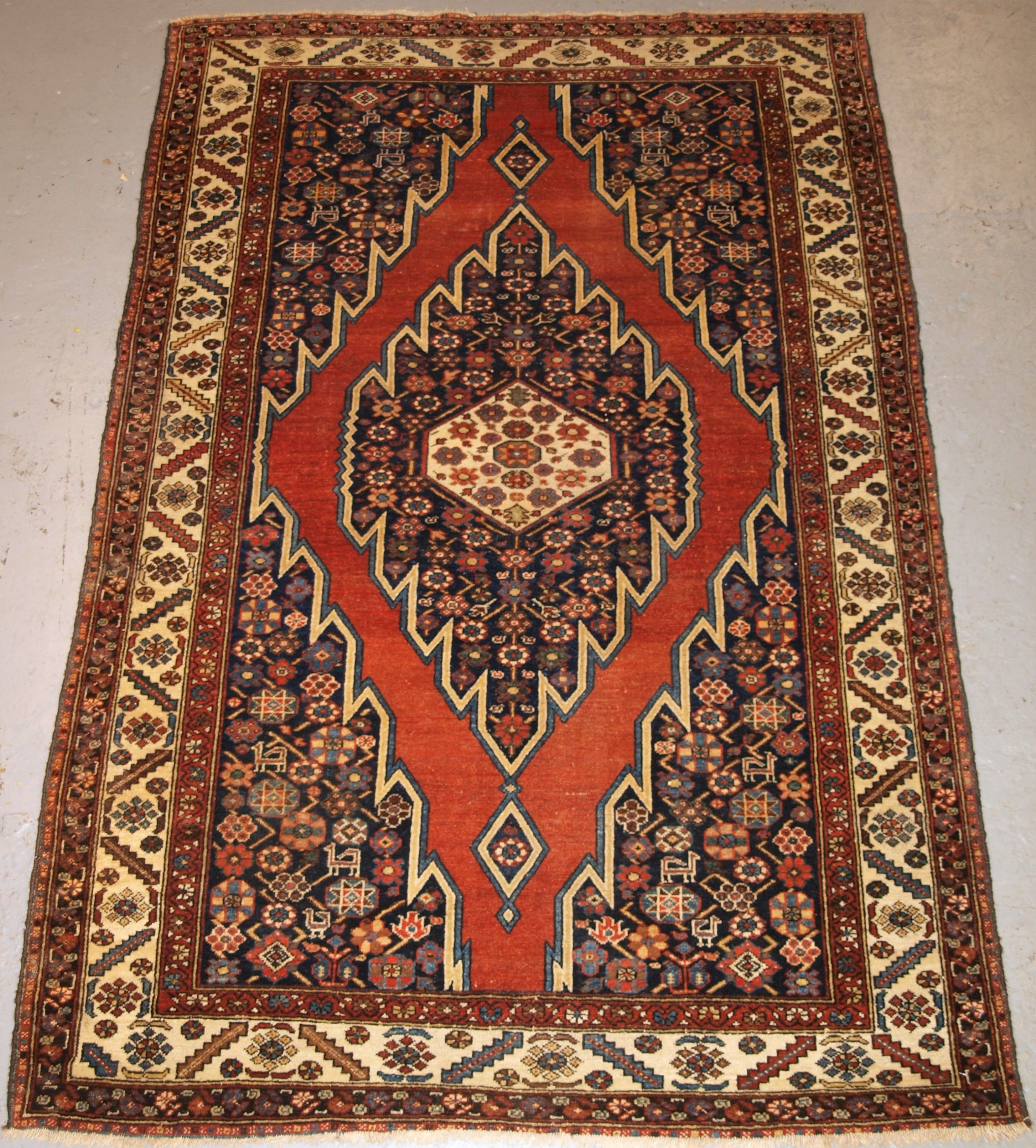 antique mazlahan rug traditional design good colour circa 1920