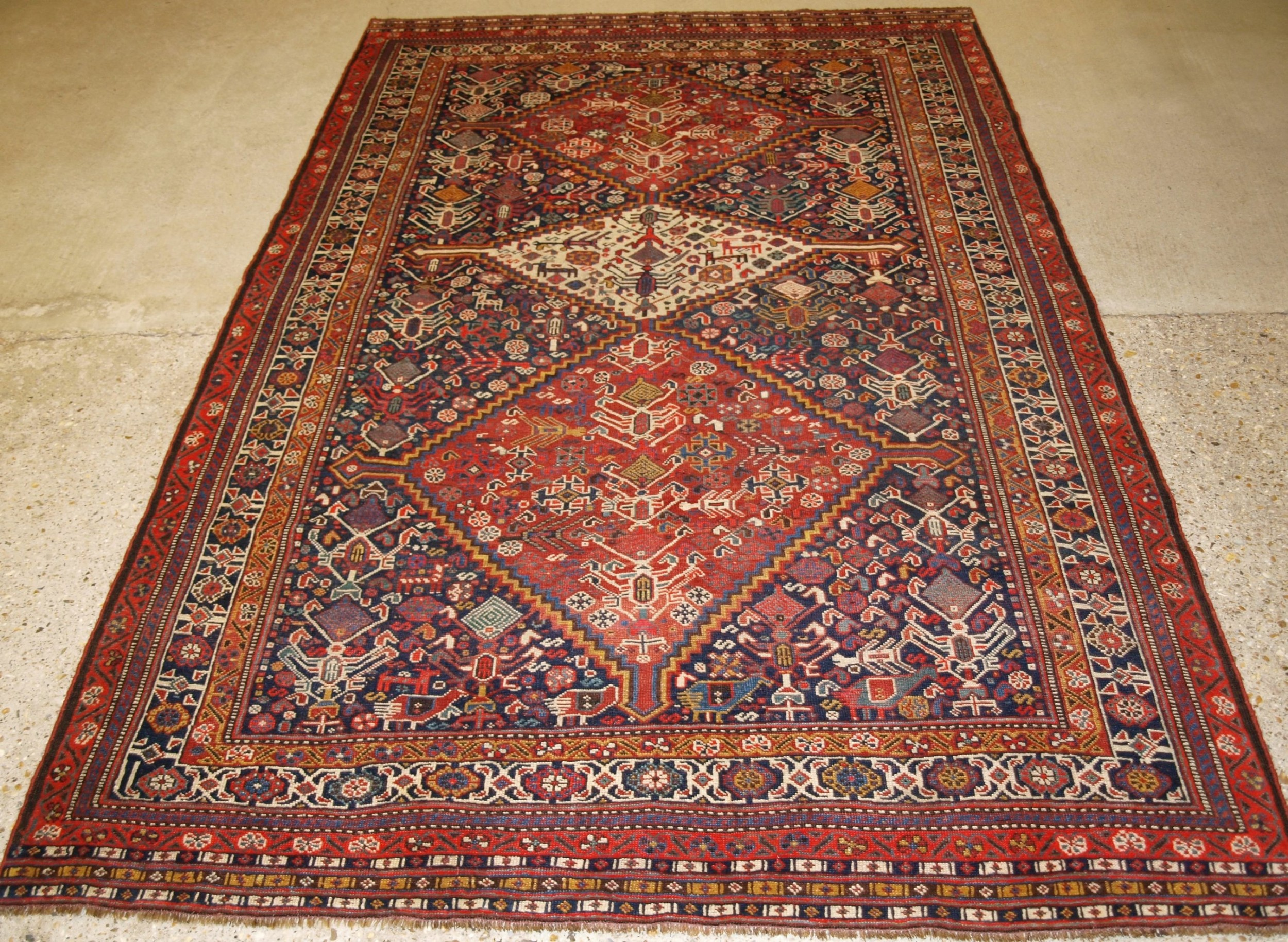 antique tribal qashqai rug beautiful drawing with lots of animals late 19th century