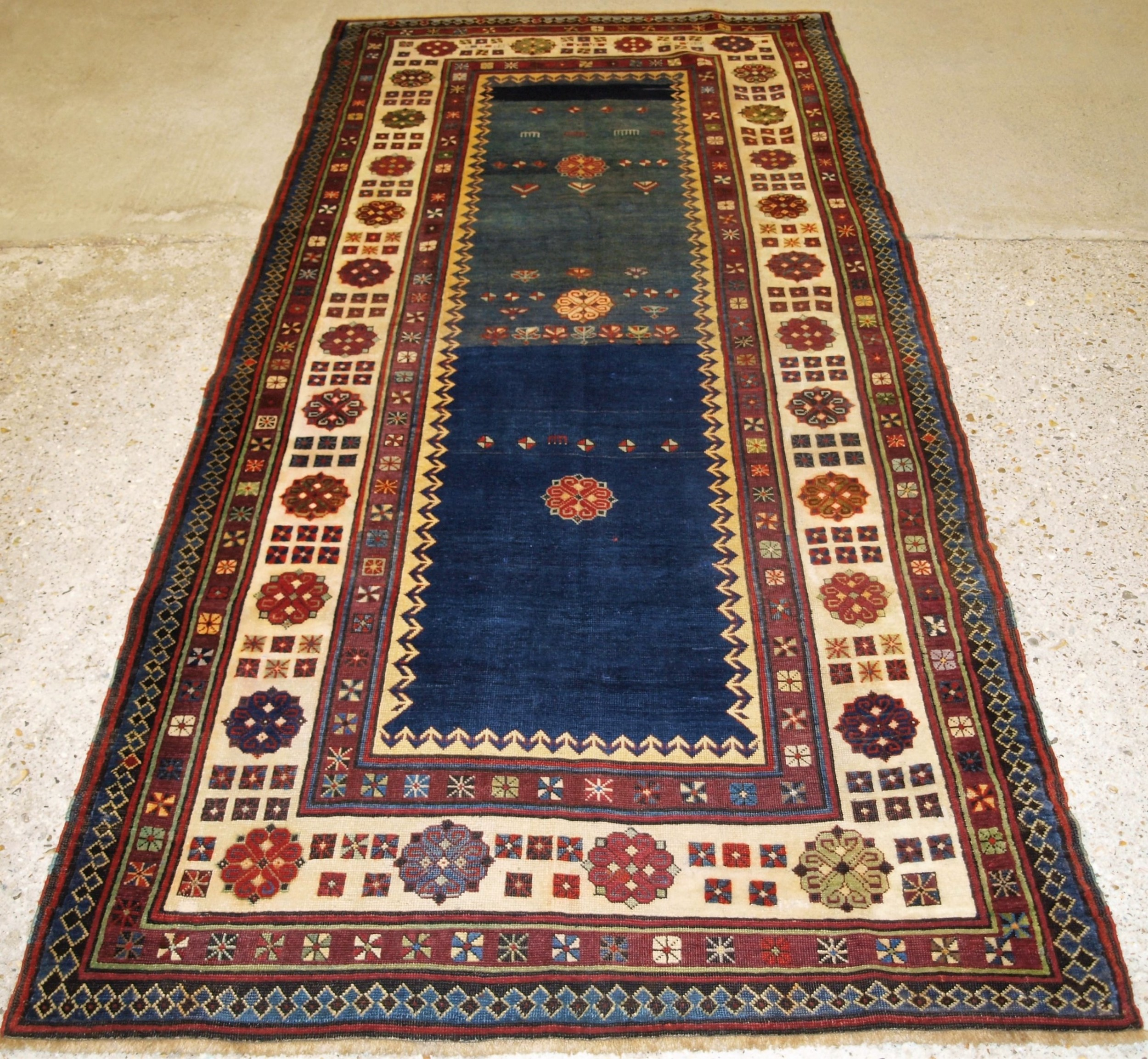 antique caucasian talish long rug abrashed blue field late 19th century