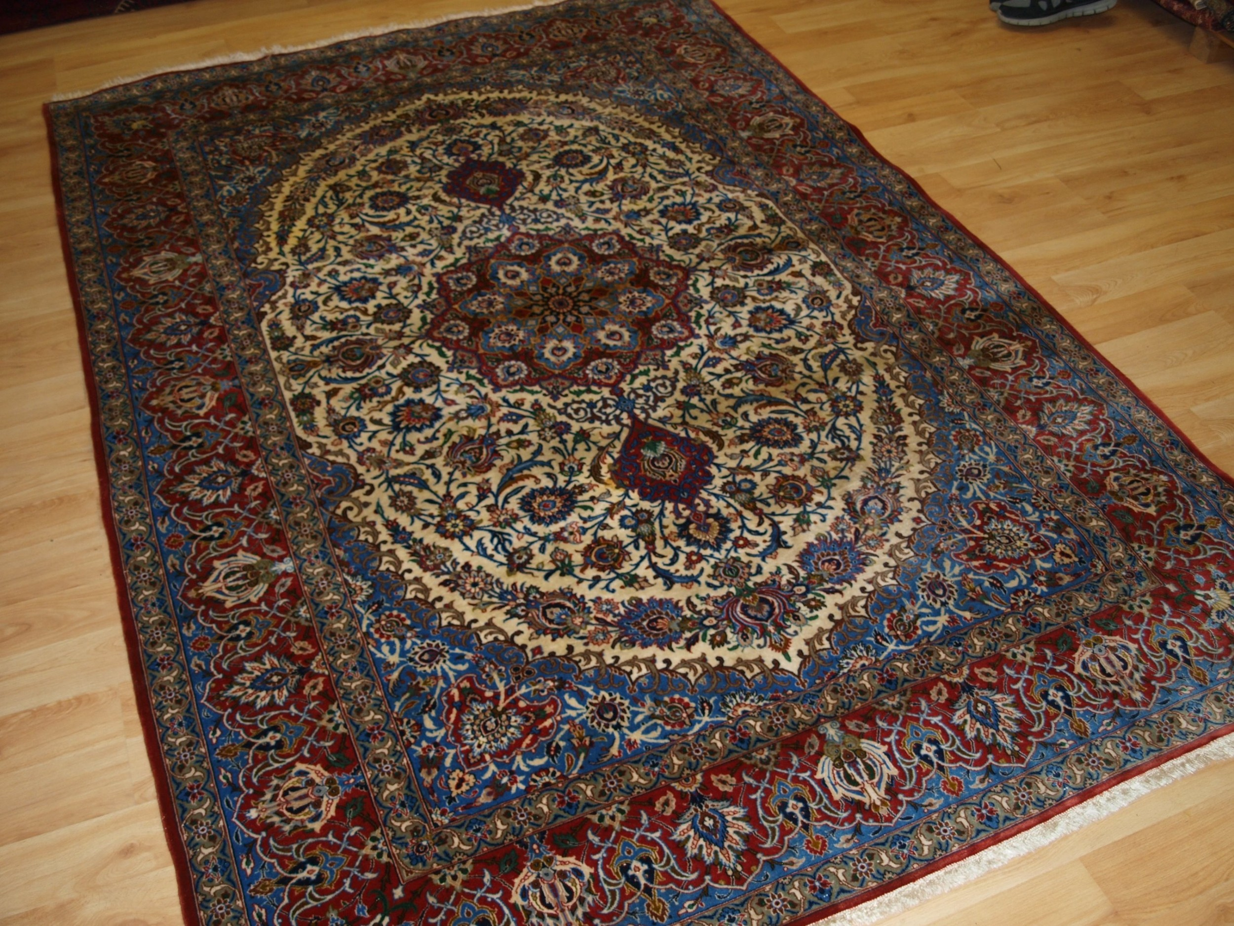 old isfahan rug very fine with silk foundation circa 192030