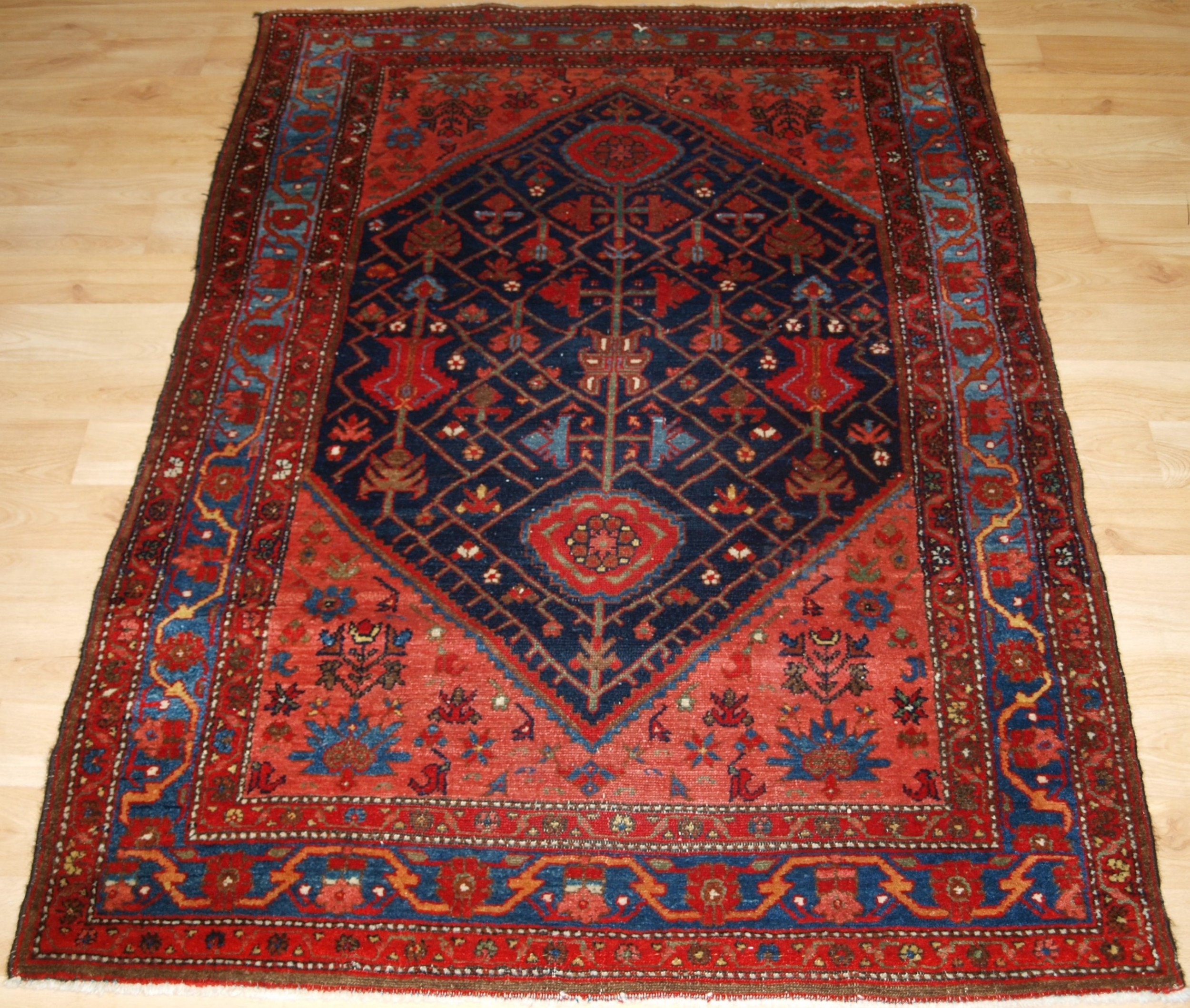 antique malayer village rug unusual design circa 190020