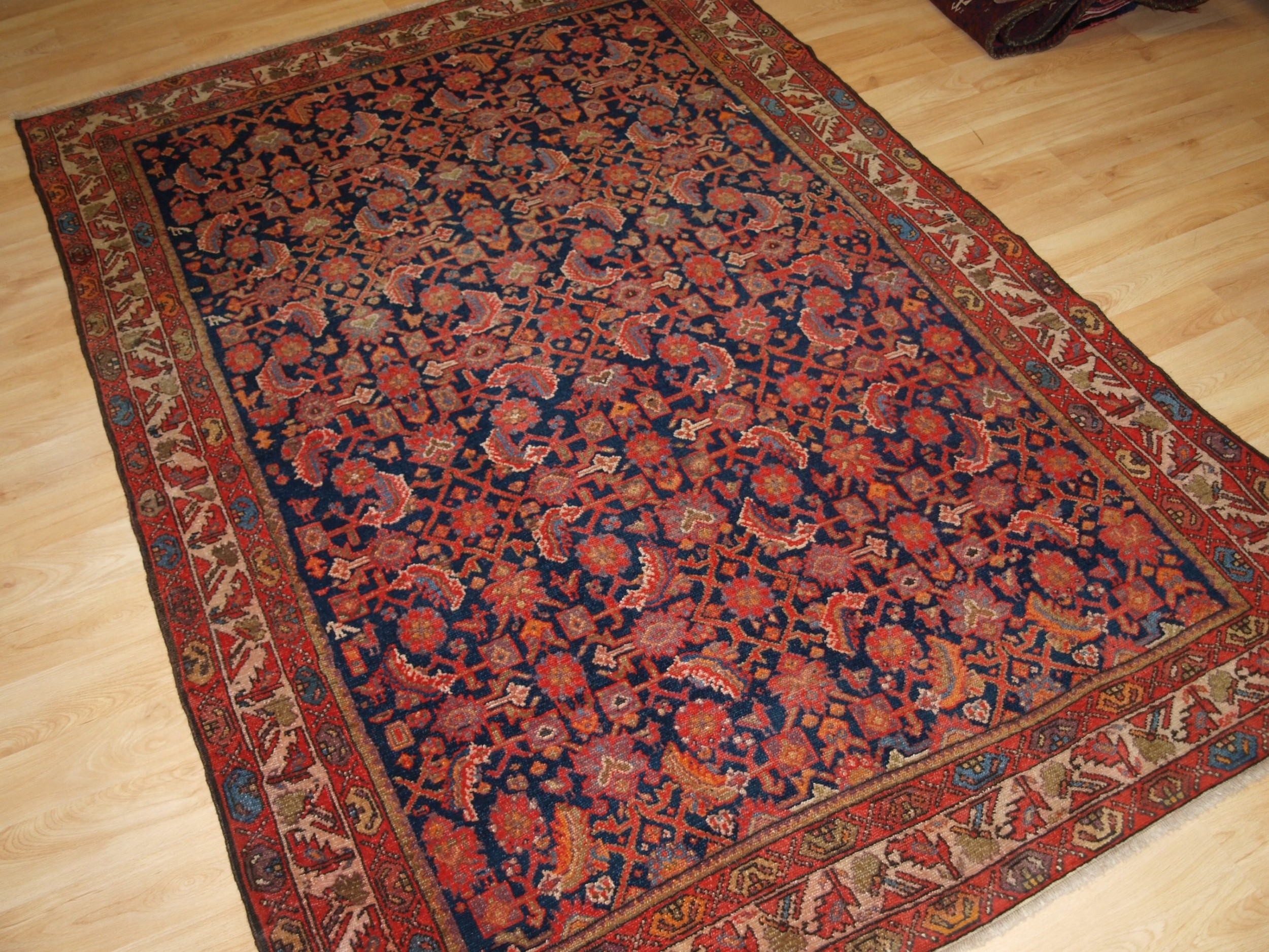 antique north west persian malayer village rug with all over herati design circa 1920