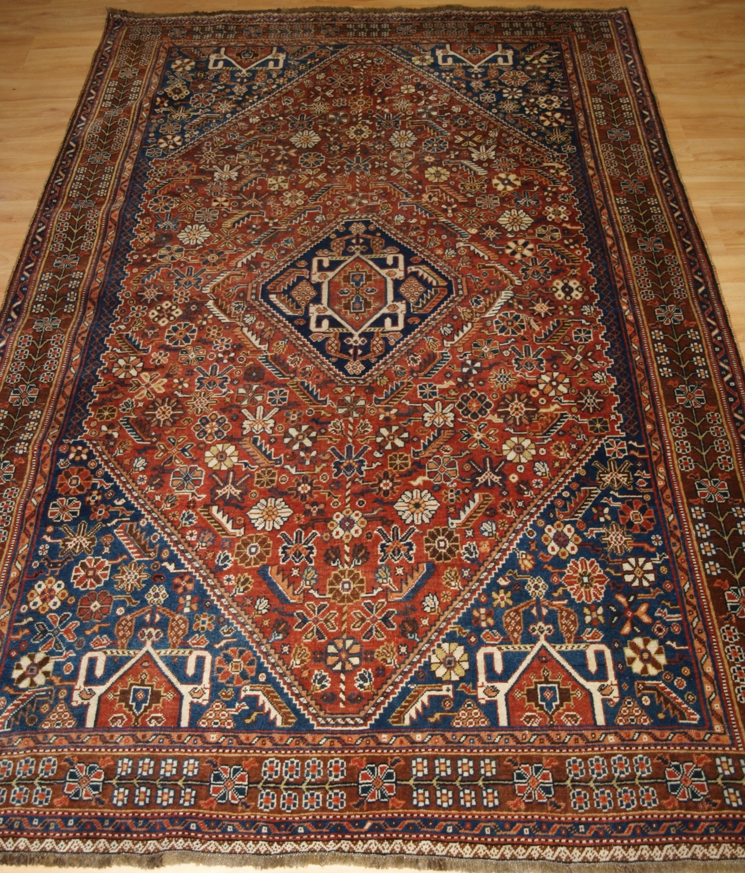antique south west persian qashqai rug tribal design great colour circa 1900