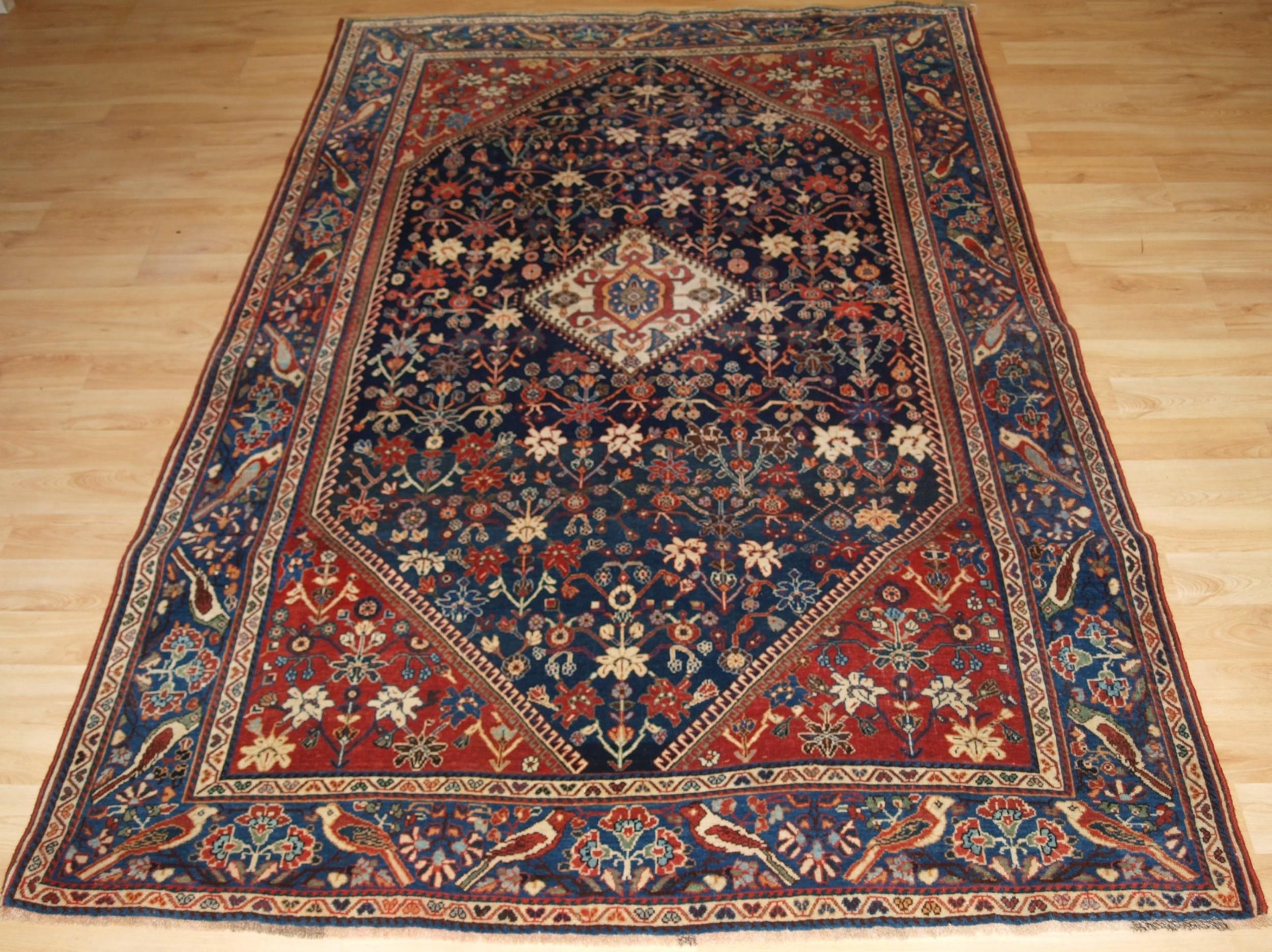 antique qashqai kashkuli rug with bird border circa 1900