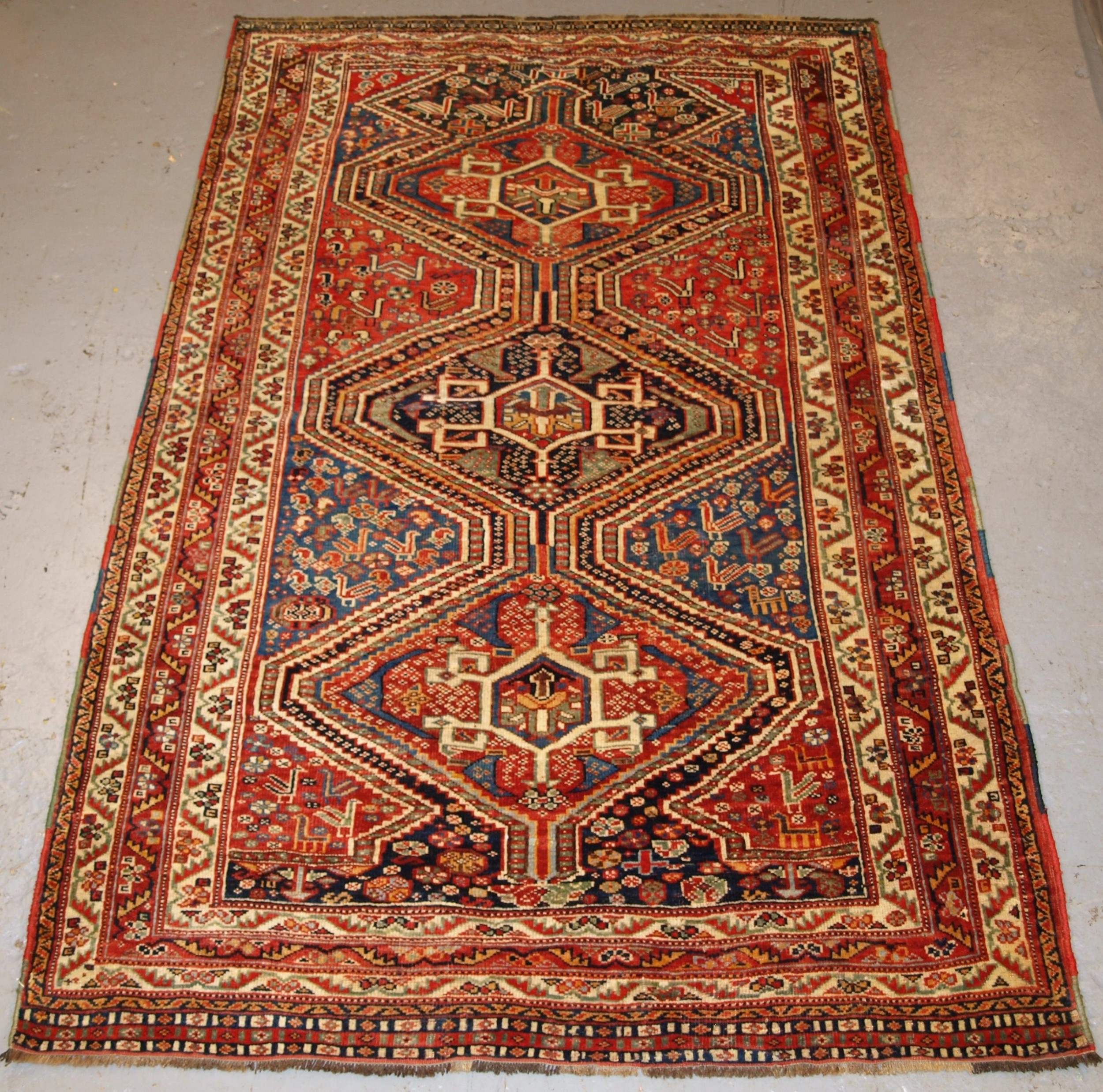 antique tribal qashqai rug triple medallion with superb colour late 19th century