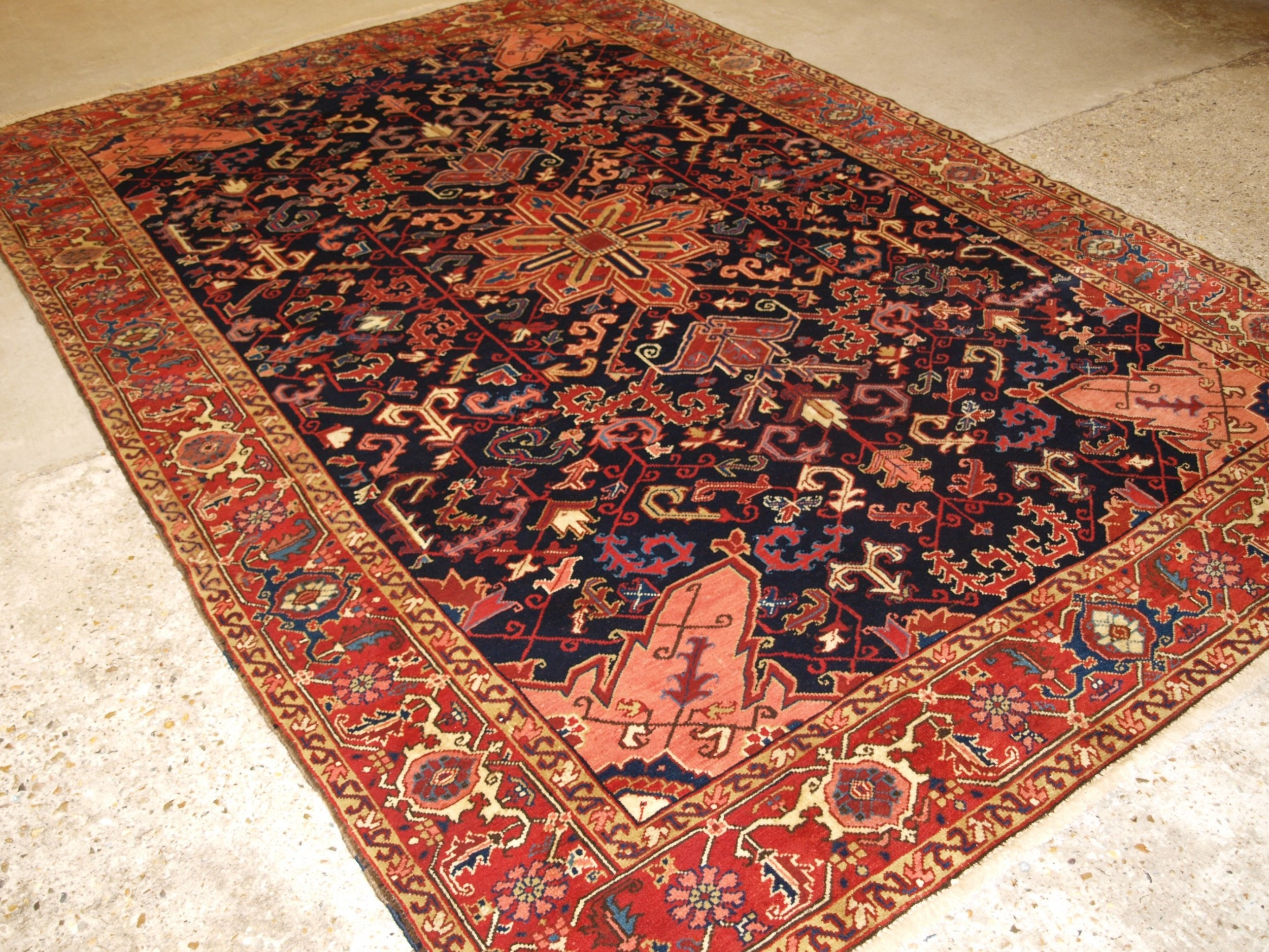antique persian heriz carpet striking colour and design great condition circa 1920