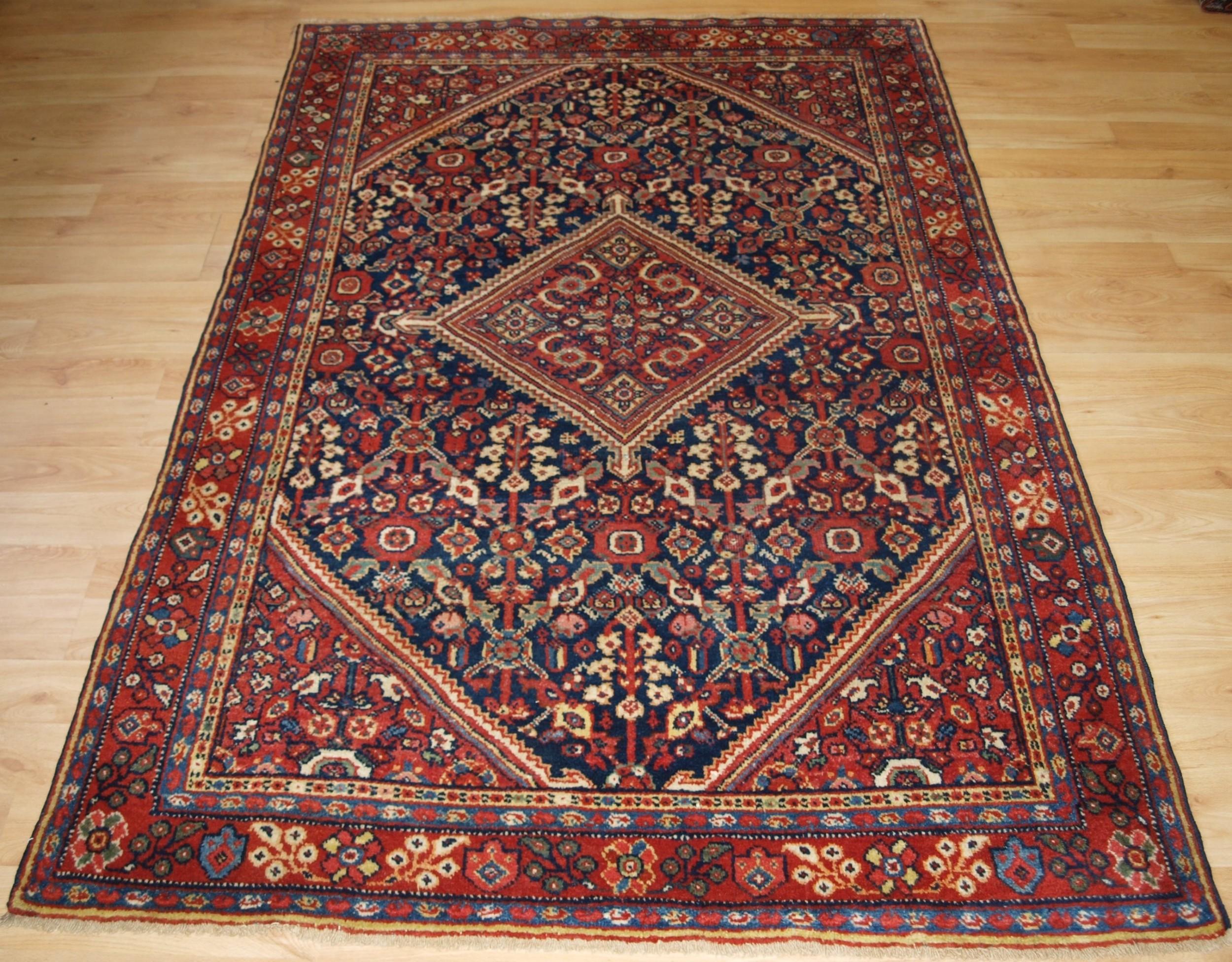 antique mahal rug with shrub design superb colours circa 1900