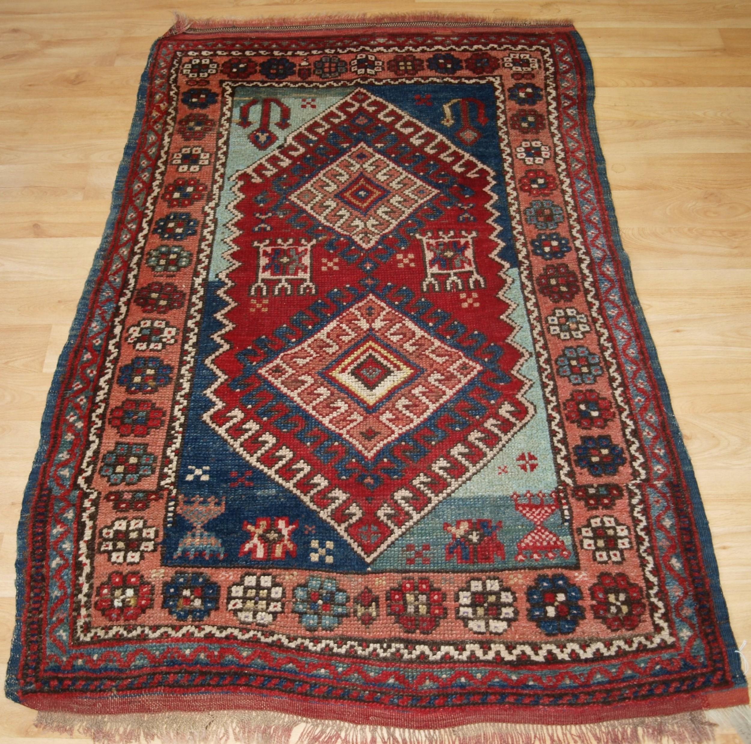 antique turkish bergama region village rug rustic design circa 1900