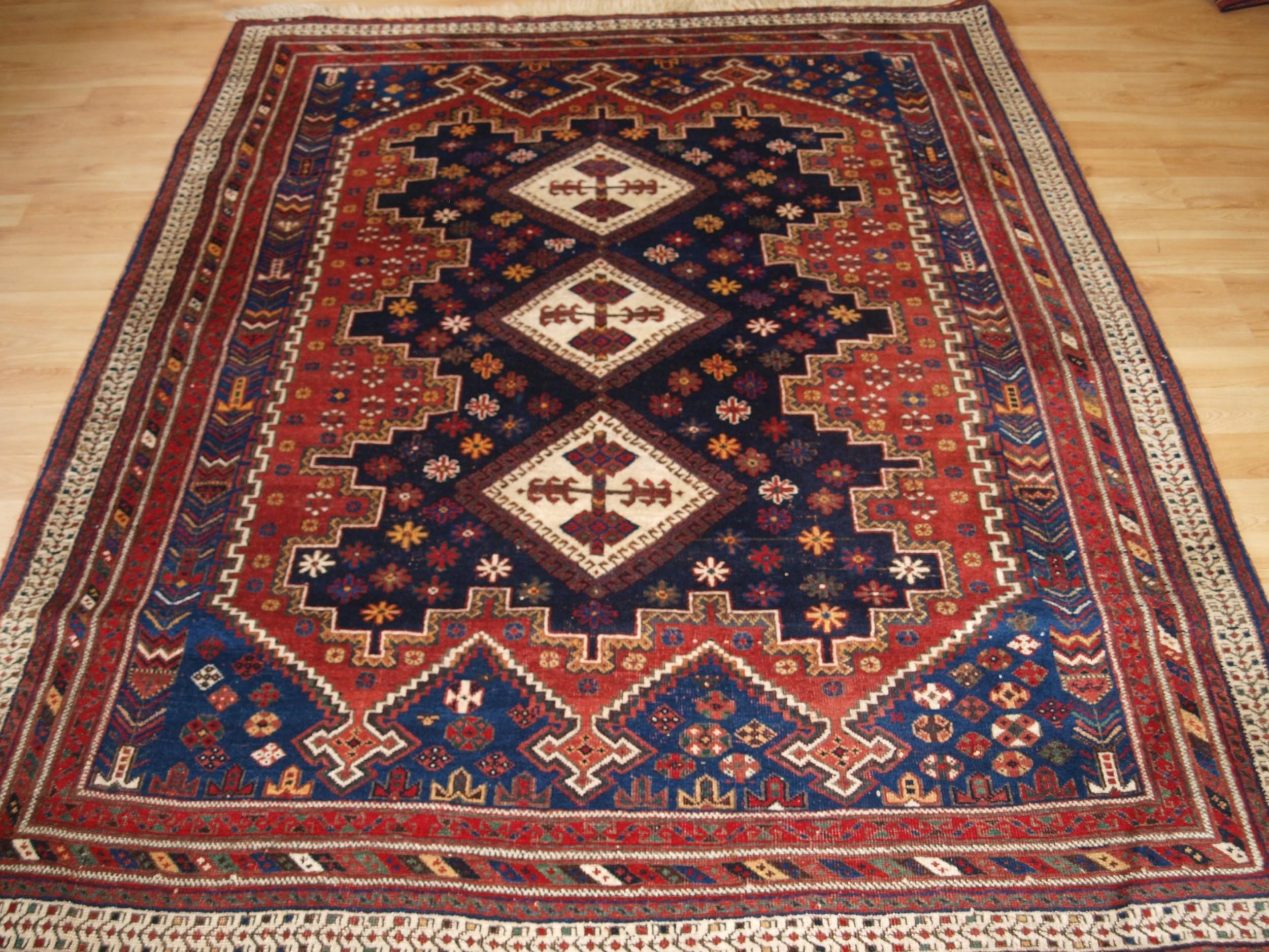 antique afshar rug of classic design circa 1900