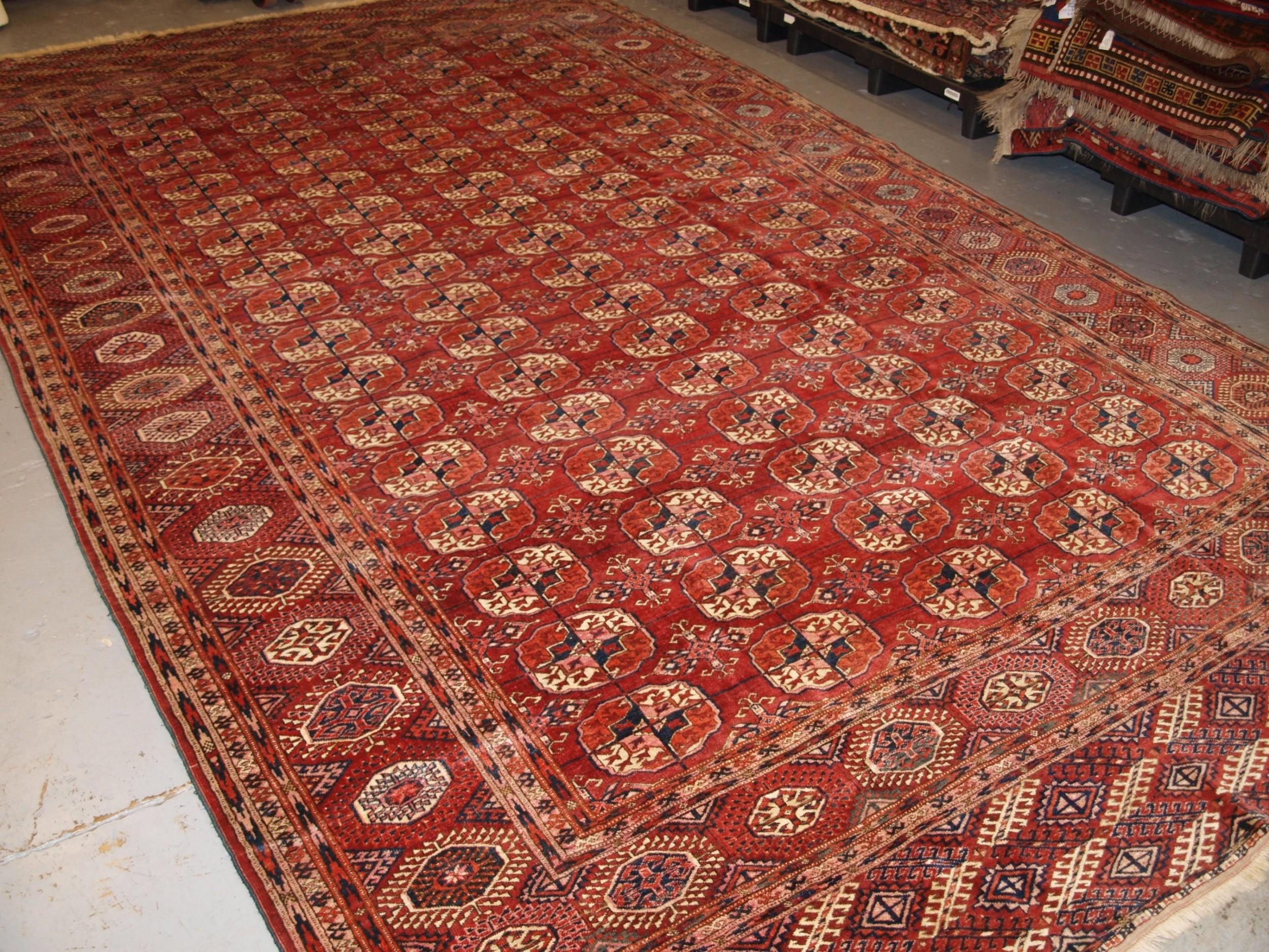 antique tekke turkmen main carpet of large size superb colour circa 1890