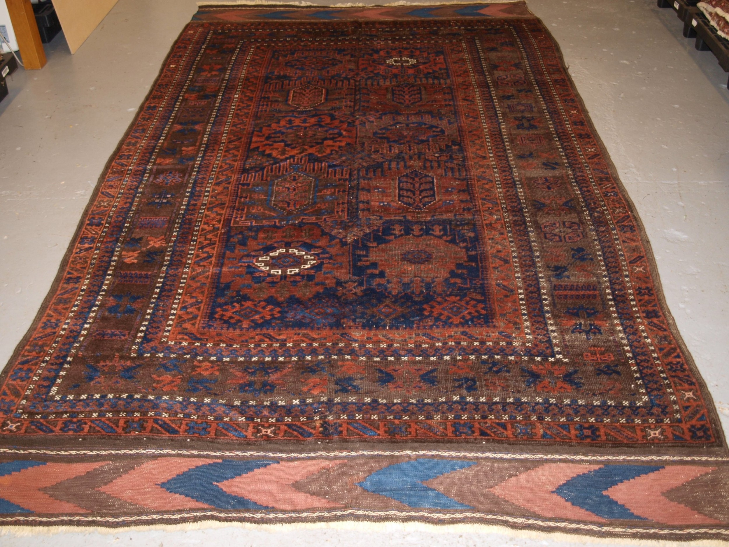 antique timuri baluch main carpet rich colours circa 1880