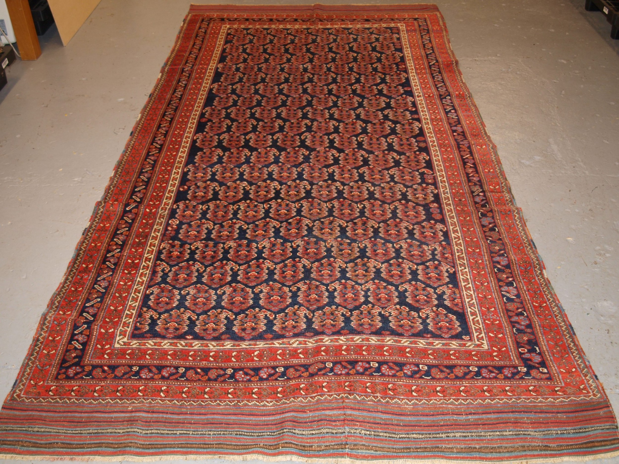 antique long rug by the afshar tribe boteh design circa 1890