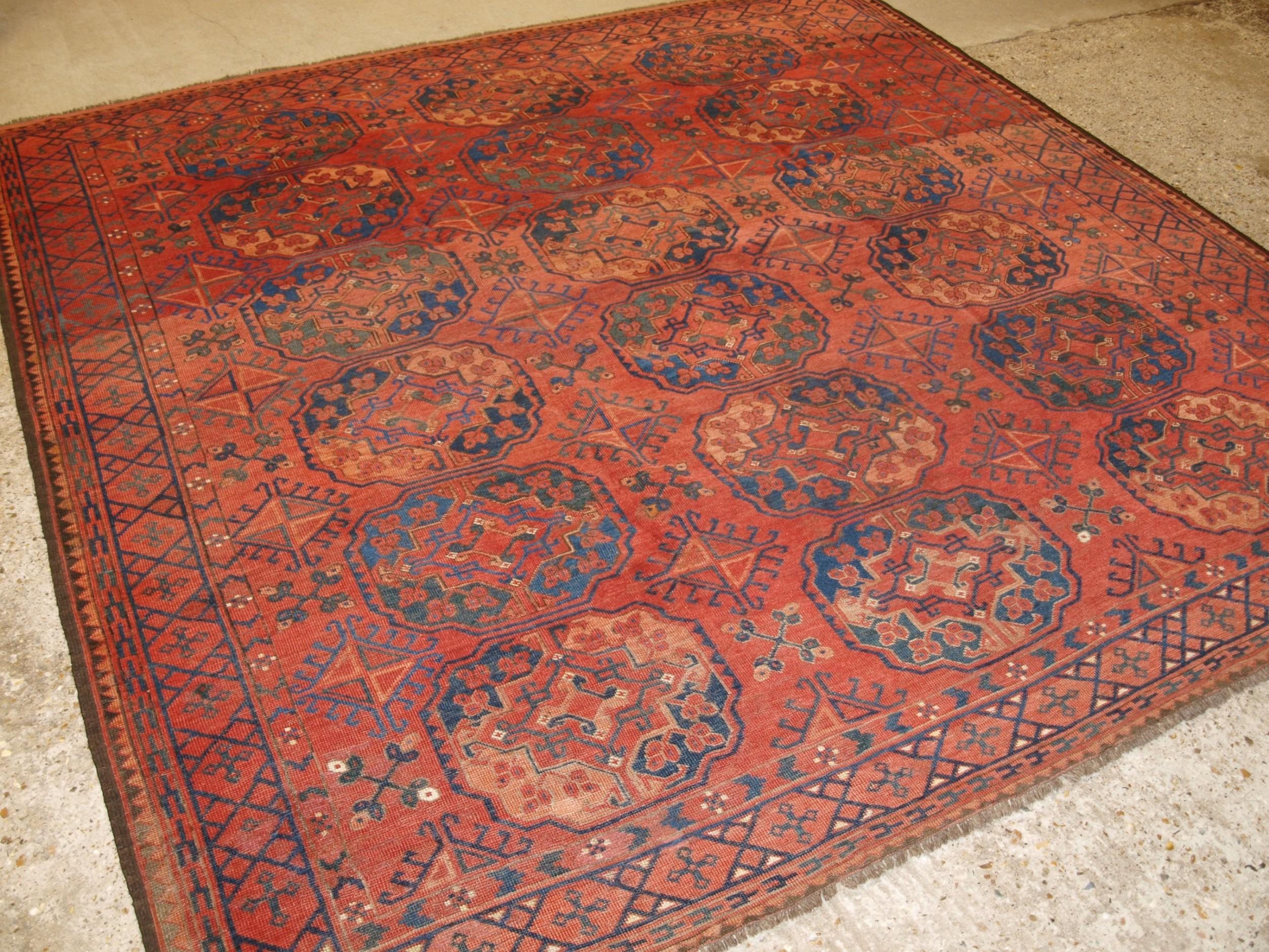 antique ersari turkmen main carpet very large guls circa 1880 or earlier