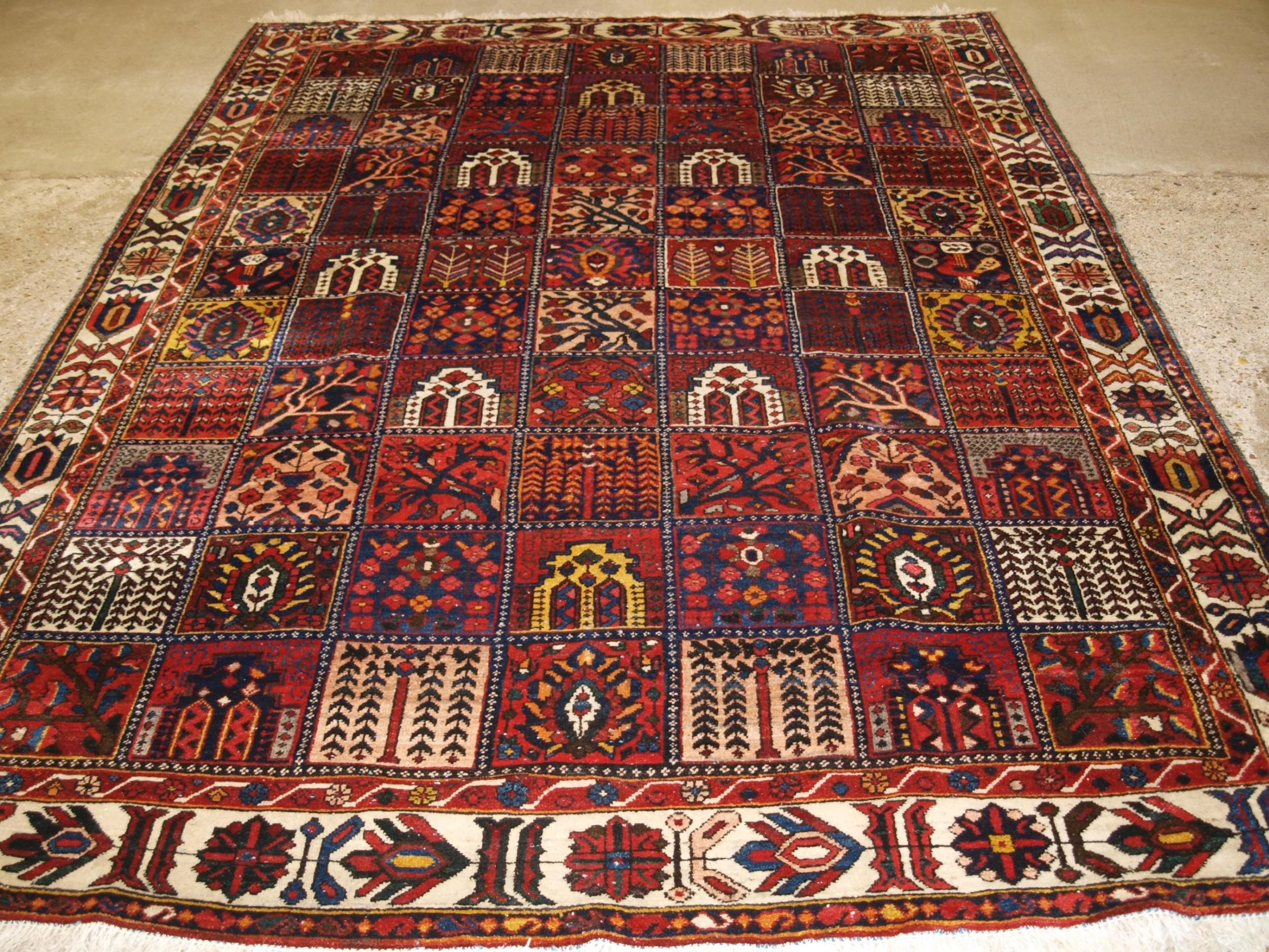 antique bakhtiari carpet of garden design circa 190020