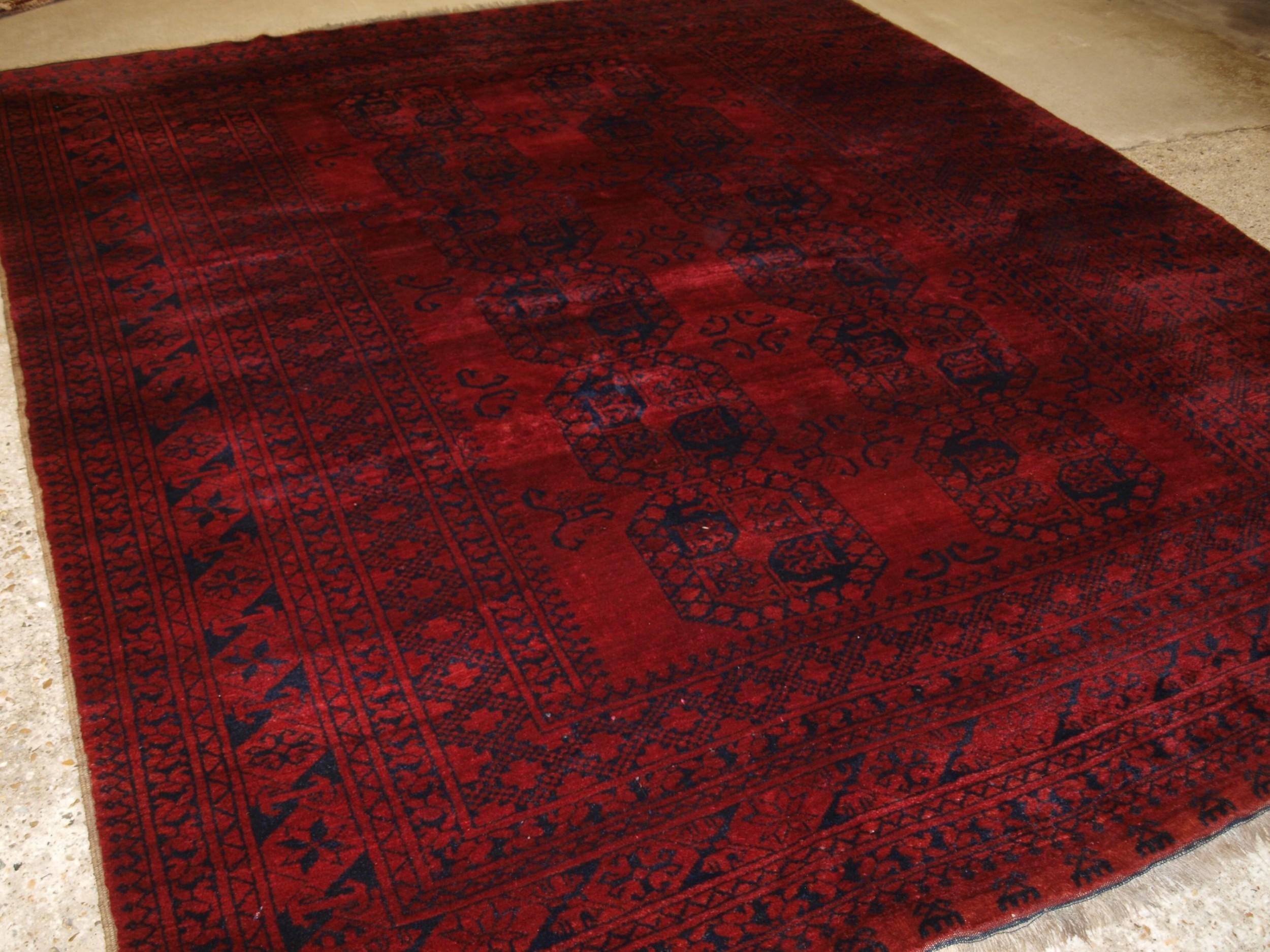 old afghan ersari village carpet rich deep red colour circa 1920