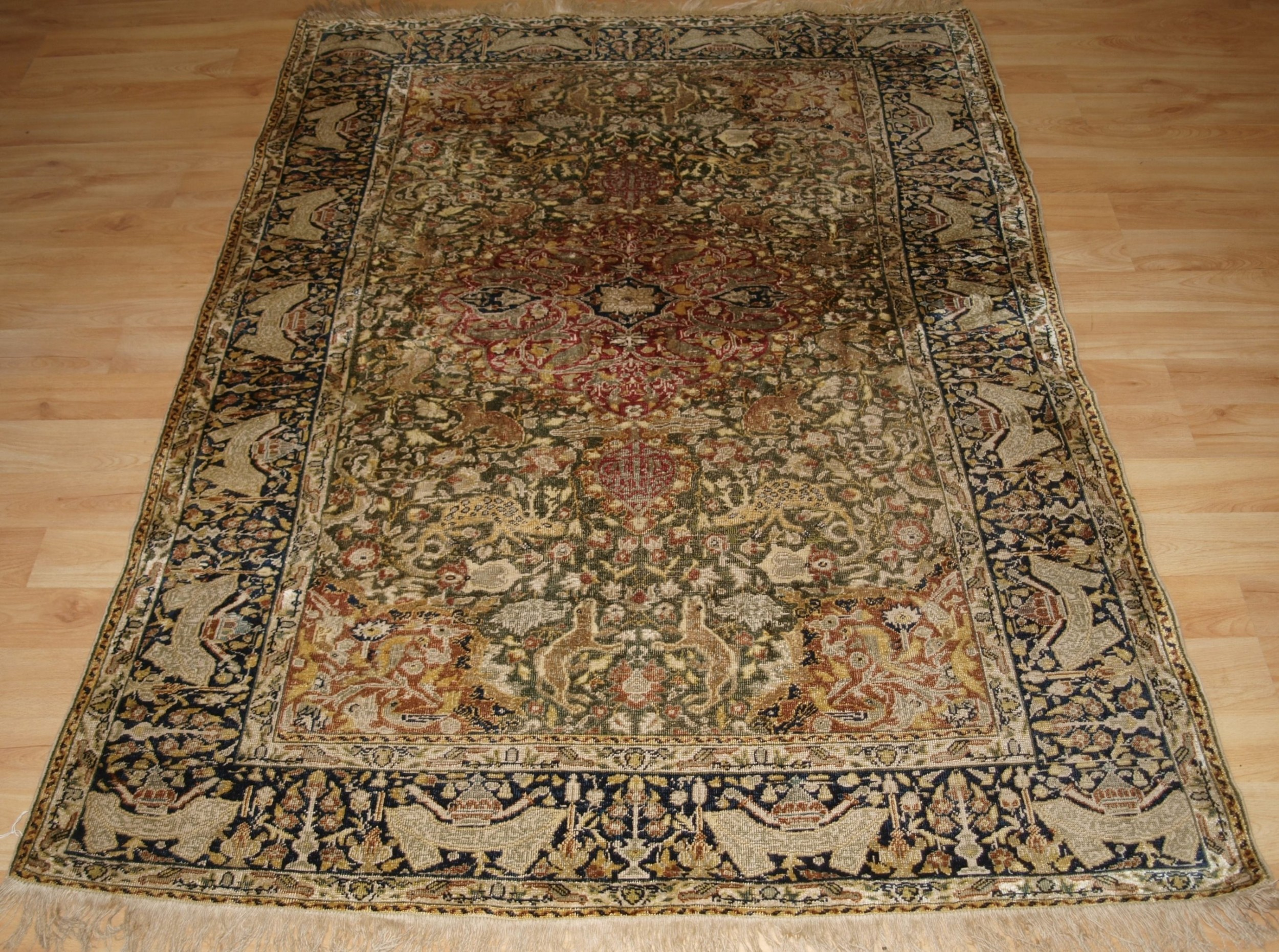 antique turkish kayseri pictorial silk rug with hunting design circa 1890