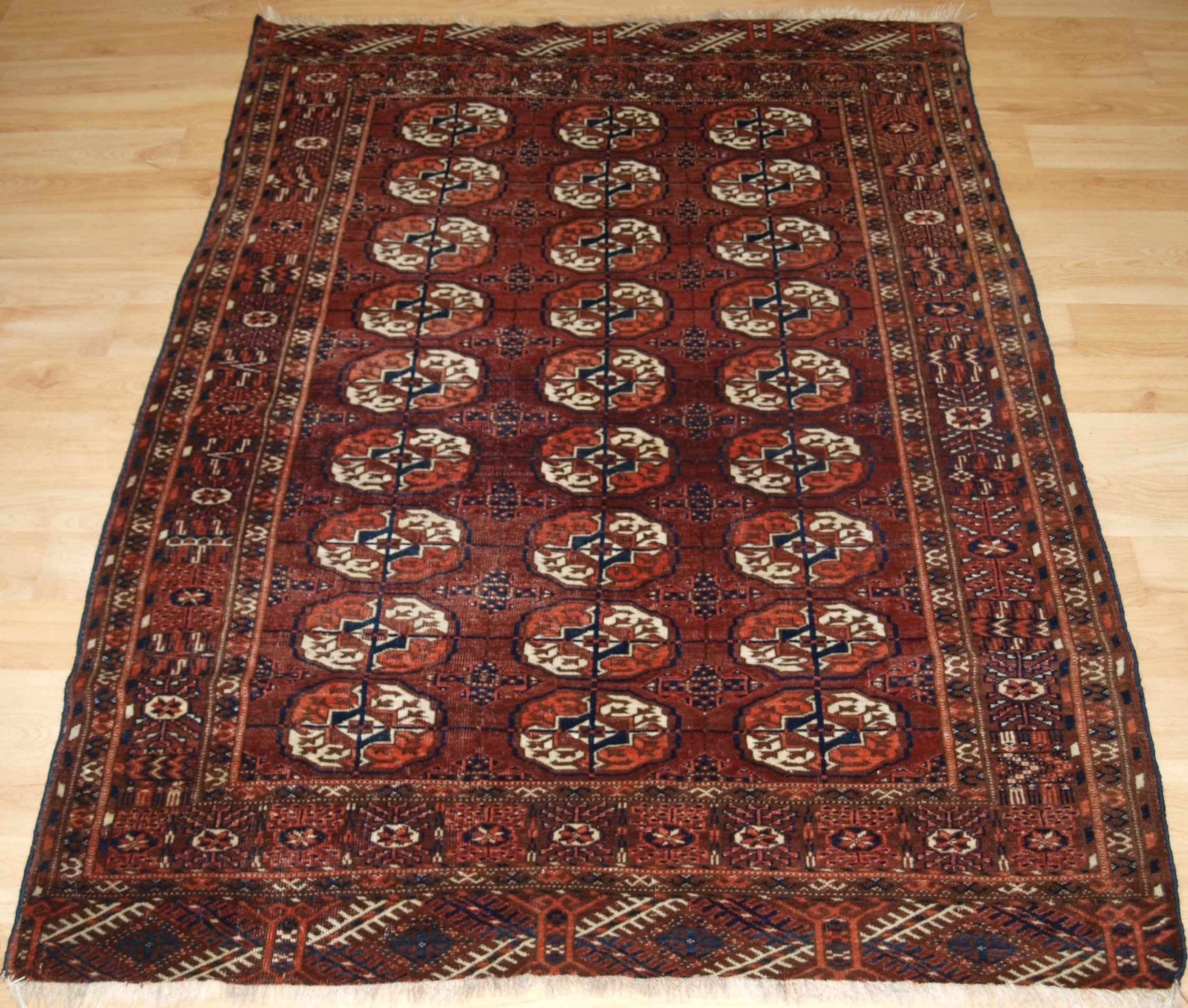 antique tekke turkmen rug small size red brown colour circa 1900