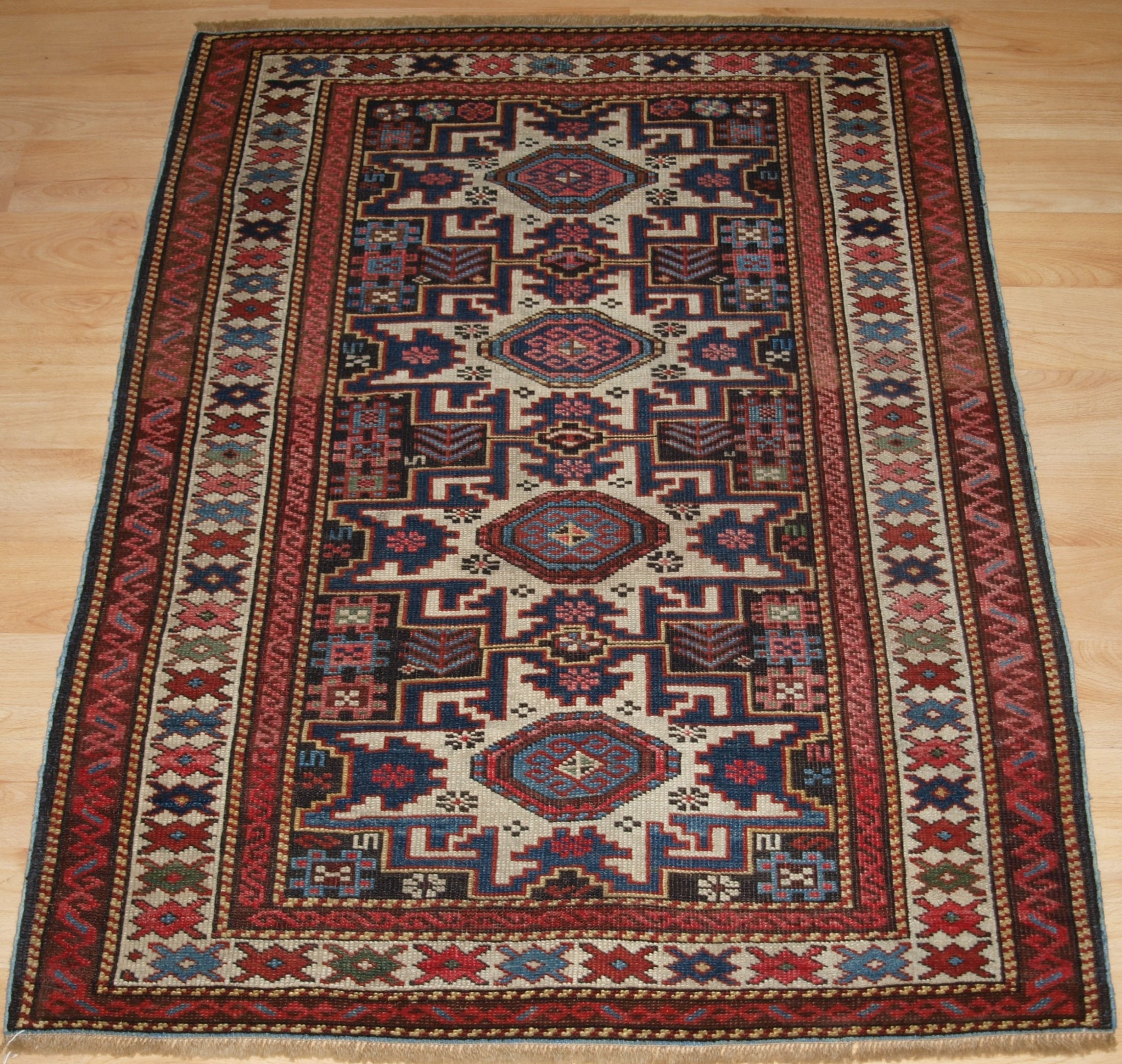 antique east caucasian rug with lesghi star design small size circa 1900