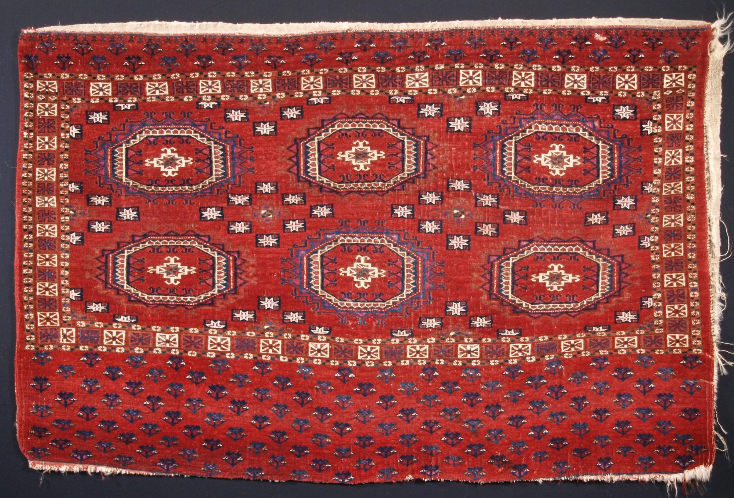 antique tekke turkmen chuval silk and cotton highlights salor guls circa 1825