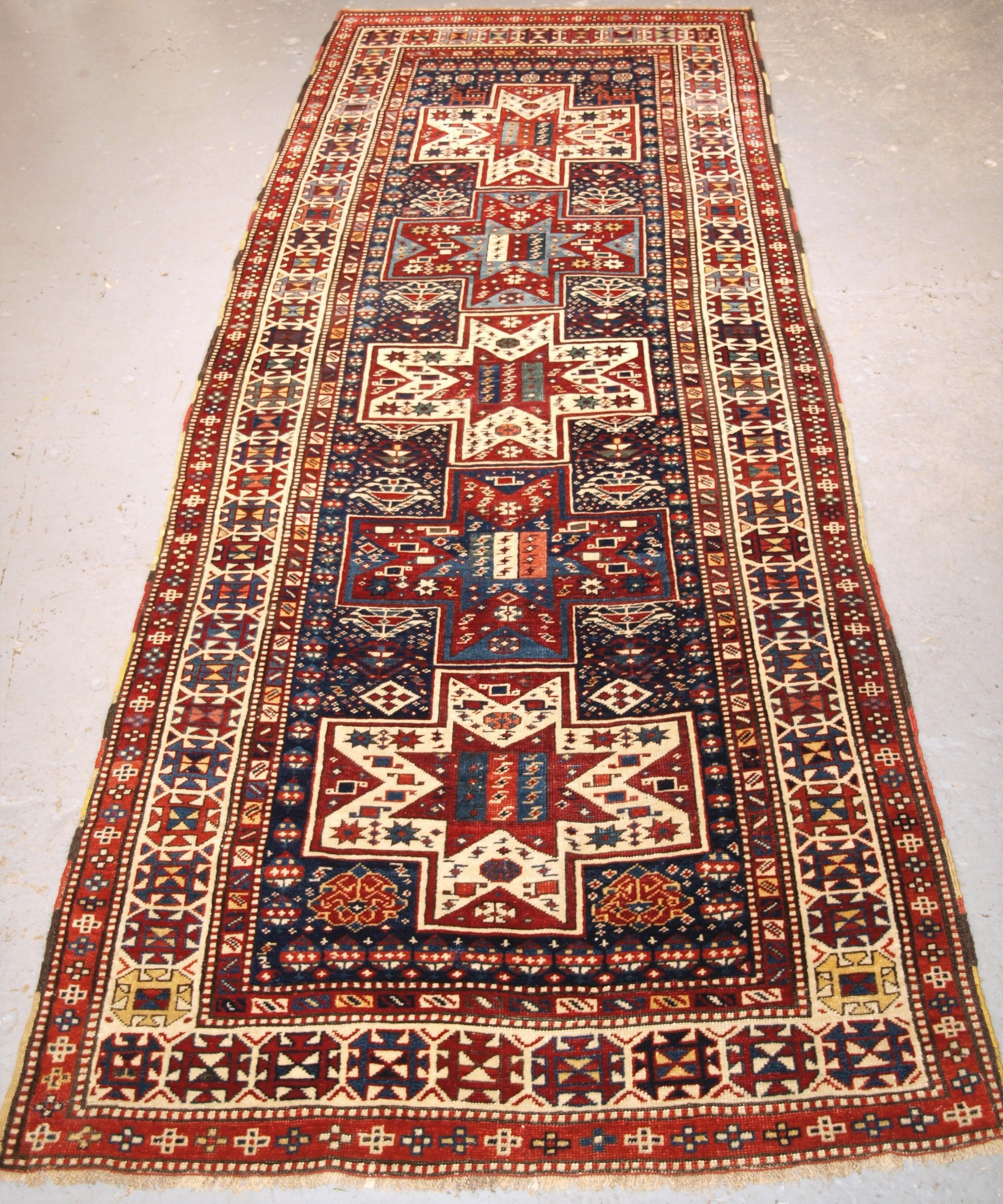 antique caucasian shirvan baku long rug runner star design circa 1880