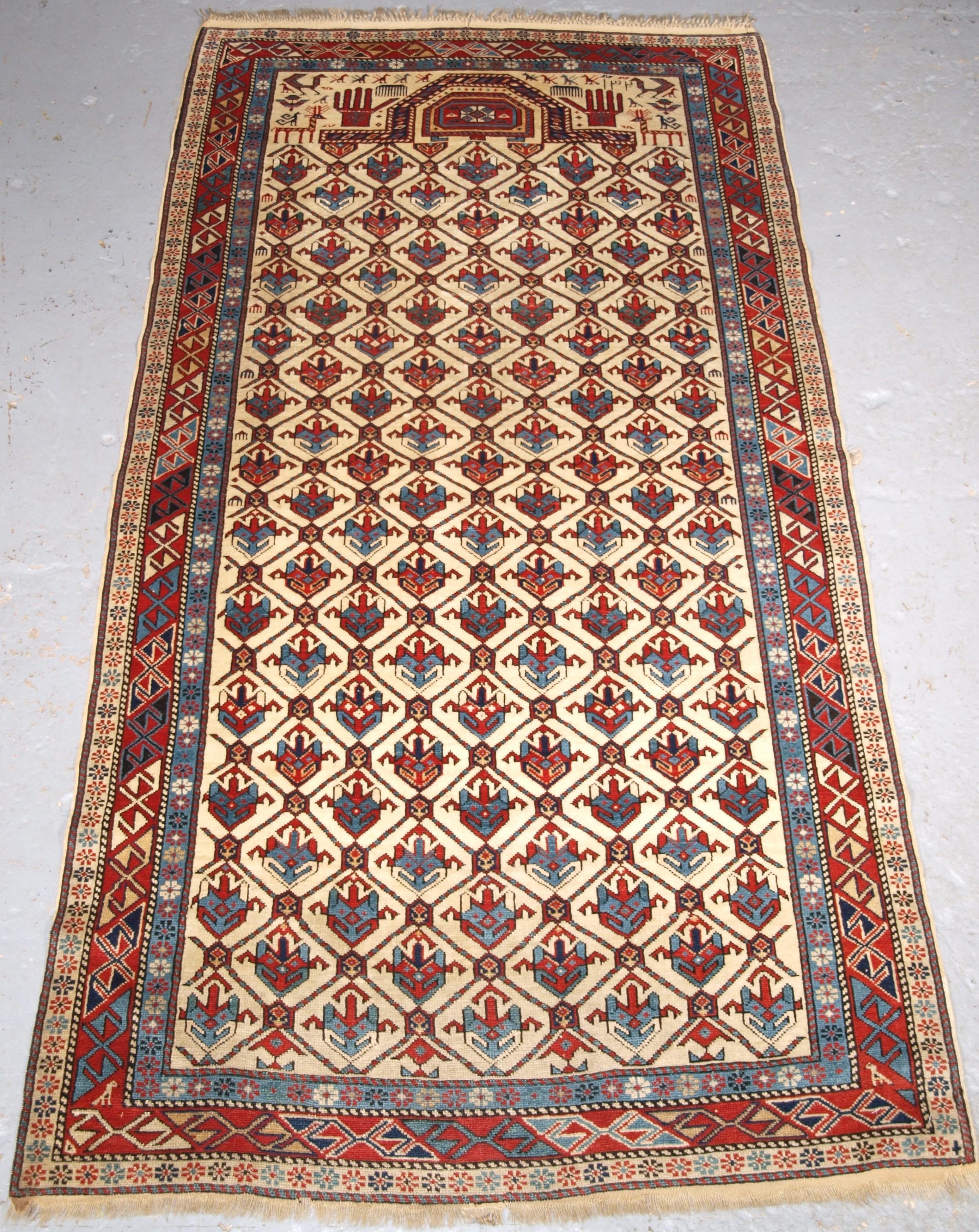 antique caucasian shirvan prayer rug ex zaleski collection dated 1320 1902