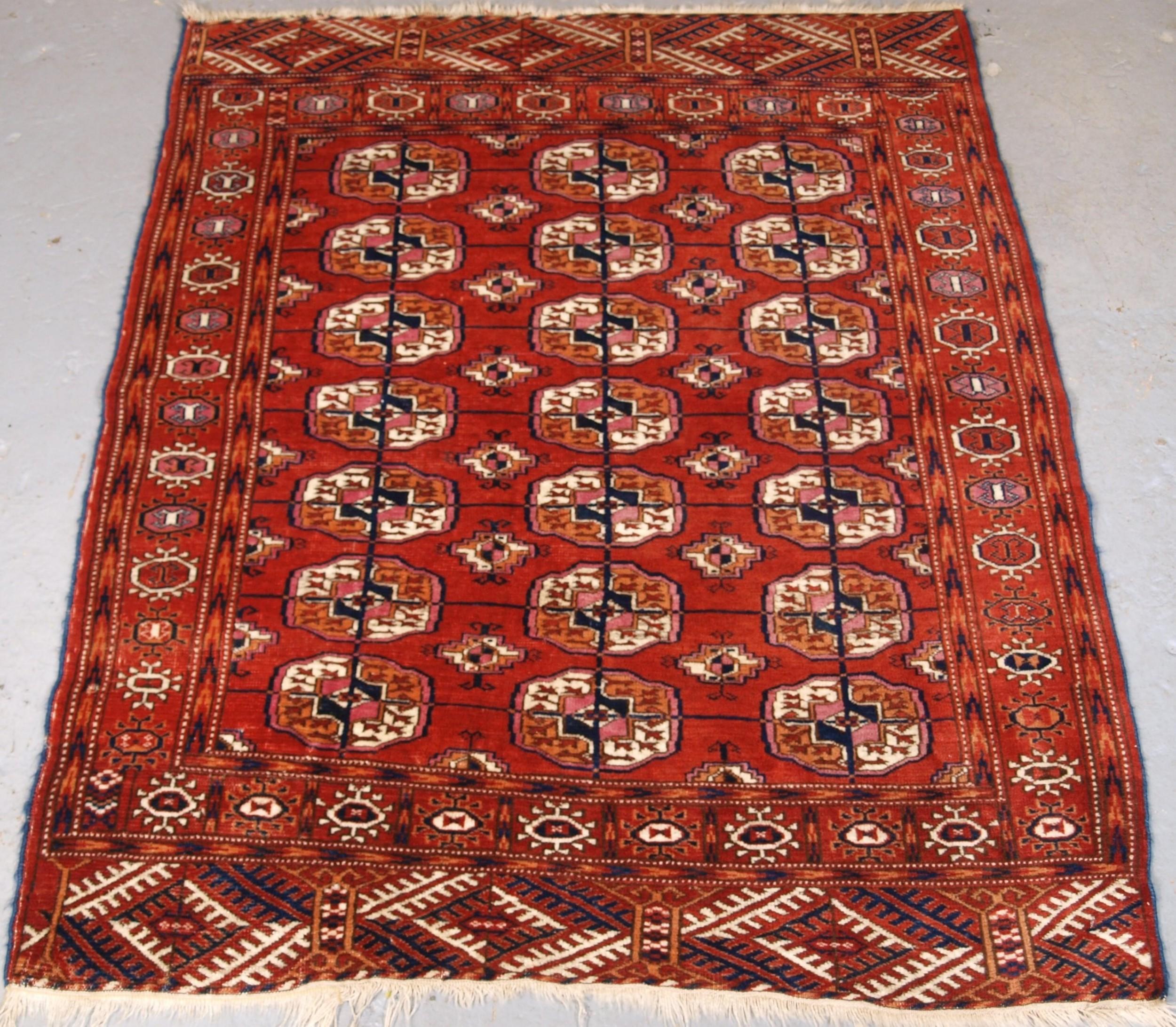 antique tekke turkmen rug of small square size circa 1900