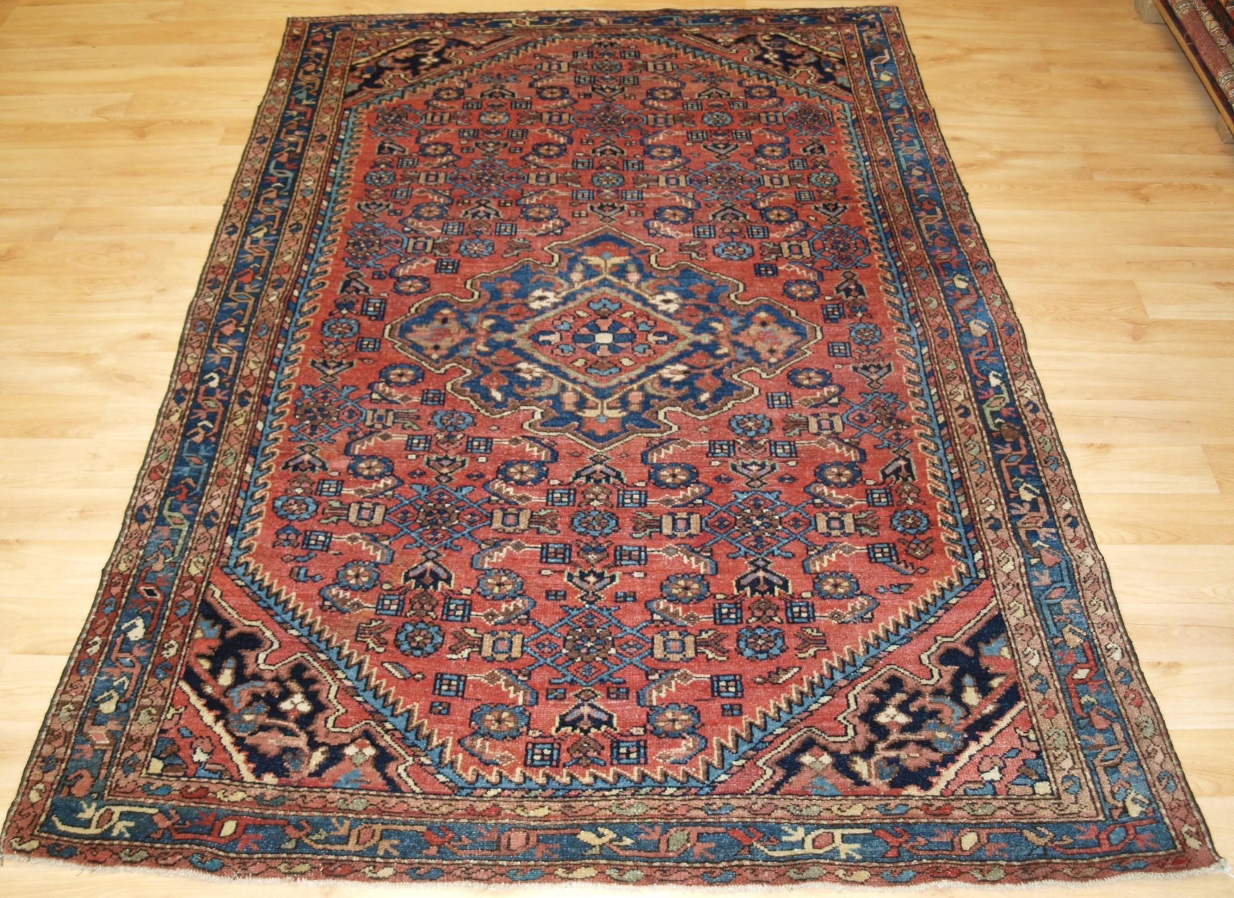 antique hamadan region village rug good soft colours circa 1900