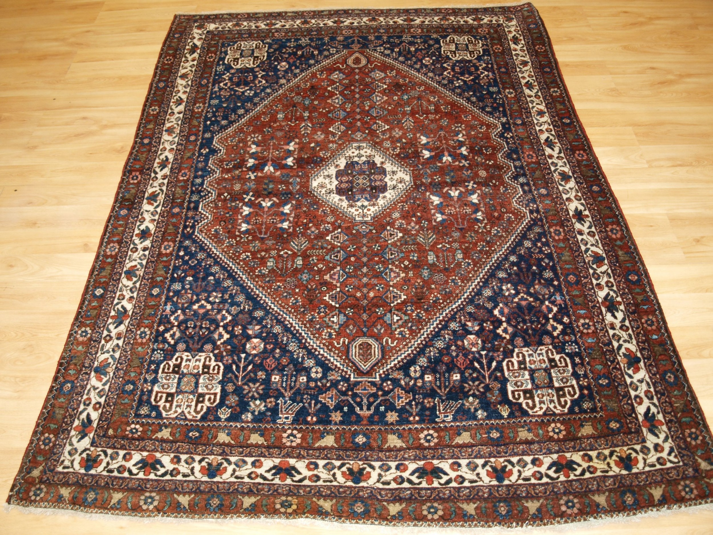 antique abedeh rug qashqai weavers tribal design circa 1920