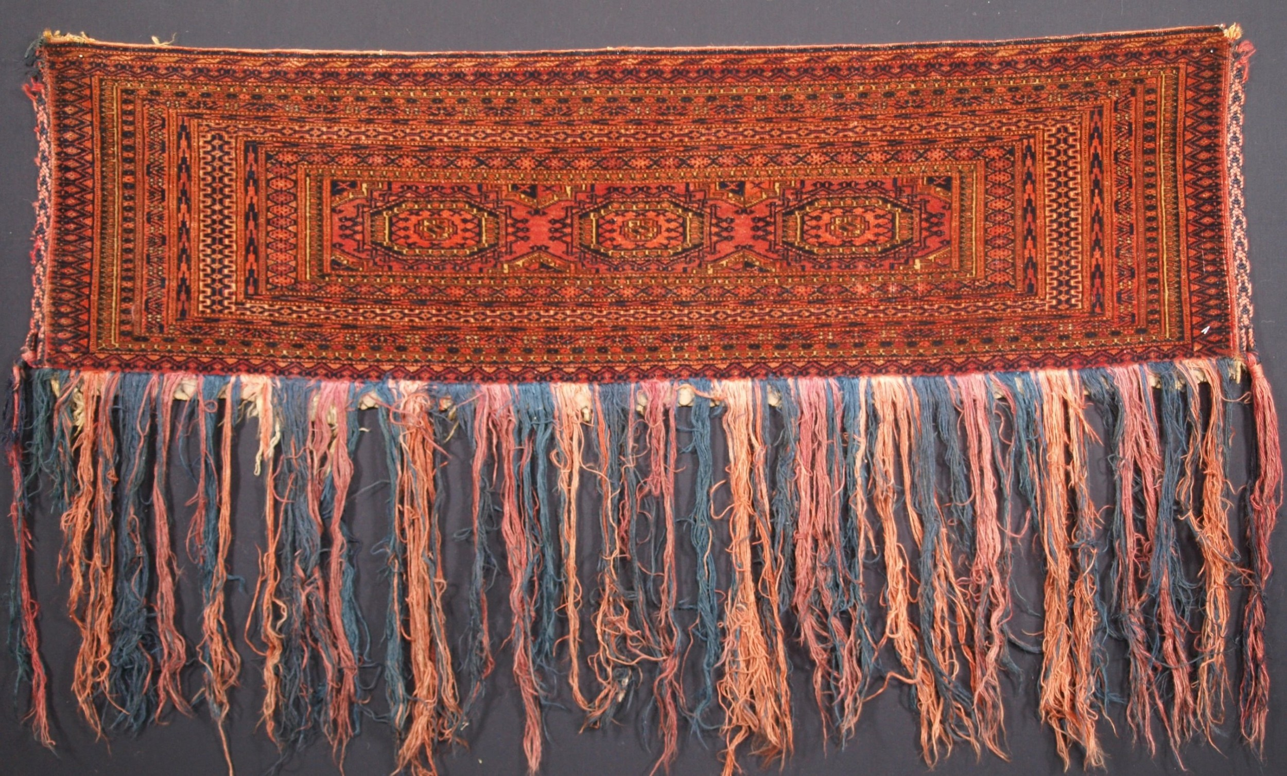 antique tekke turkmen torba with turreted gul design circa 1900