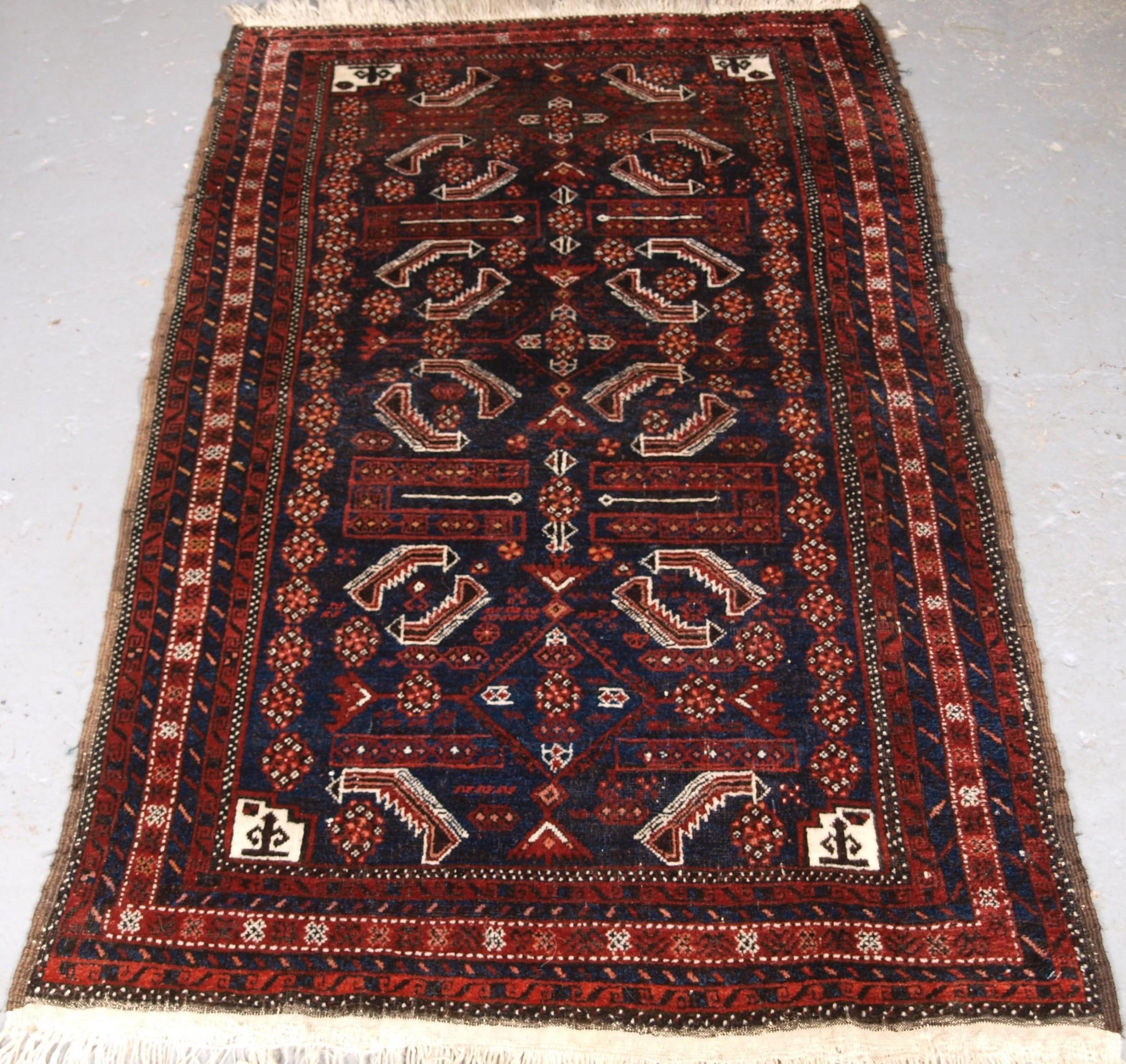 antique baluch rug salar khani sub tribe herati design circa 1900