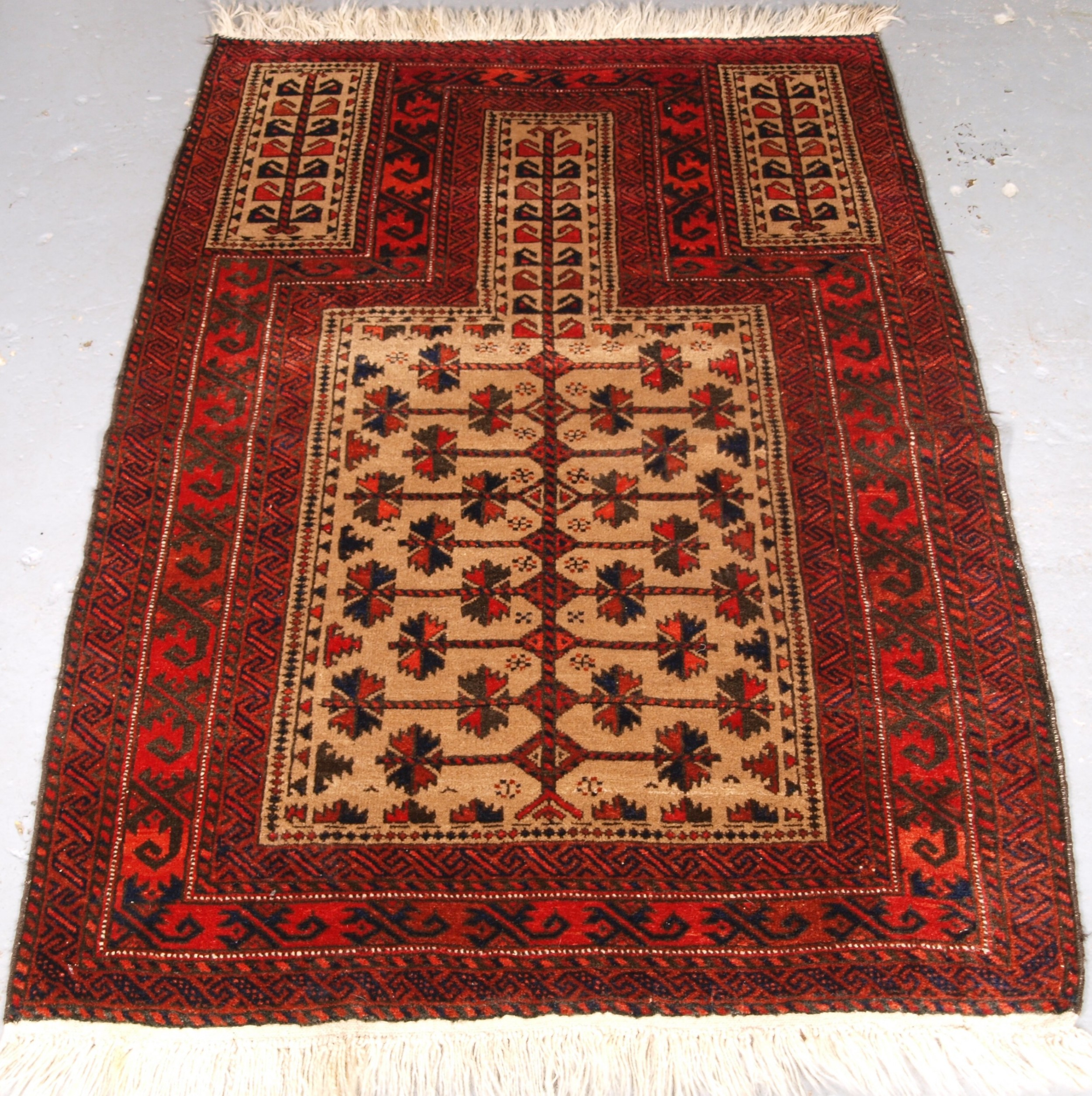 antique camel ground afghan baluch prayer rug with tree of life circa 190020