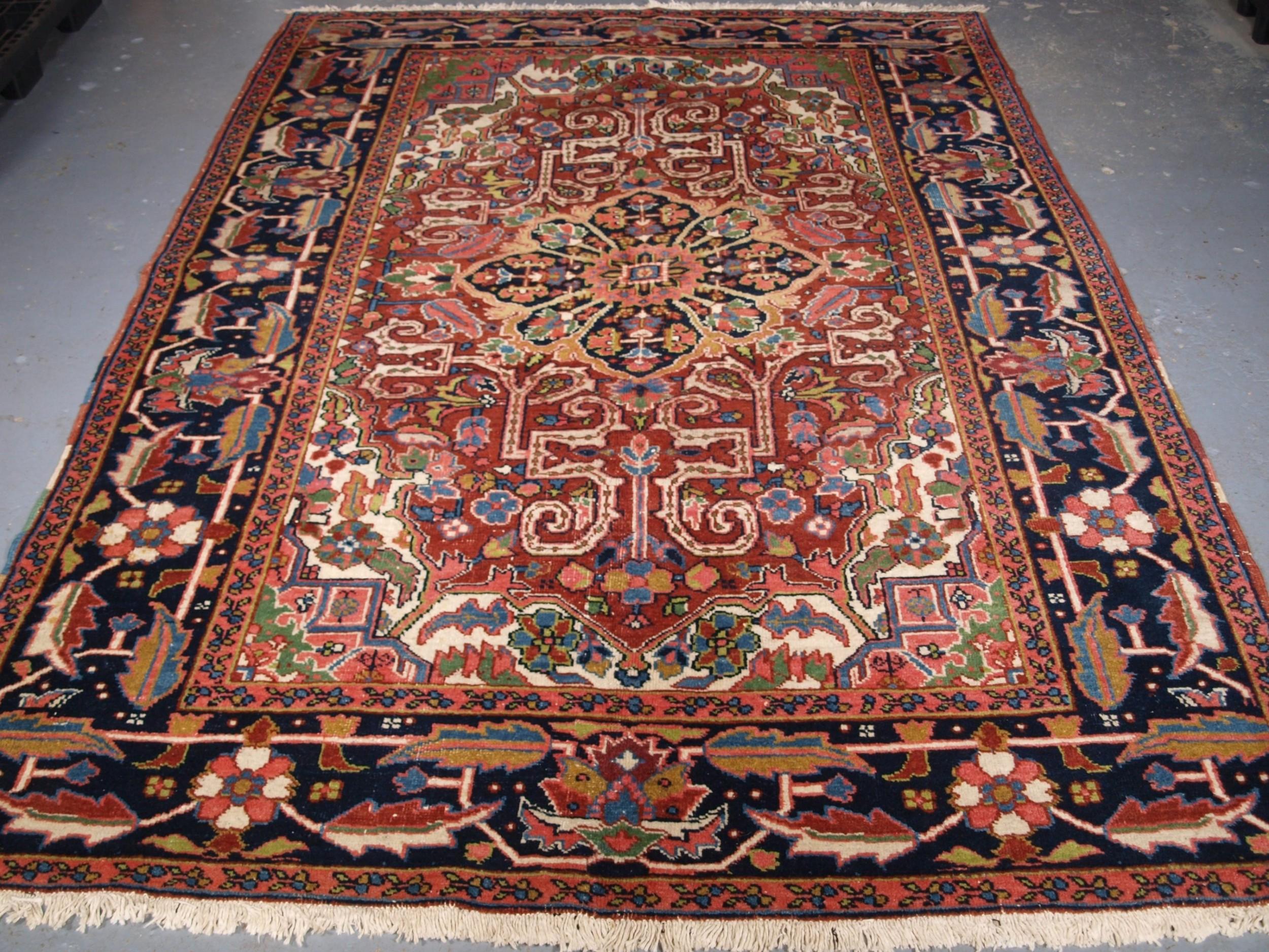 antique heriz carpet scarce small room size circa 190020