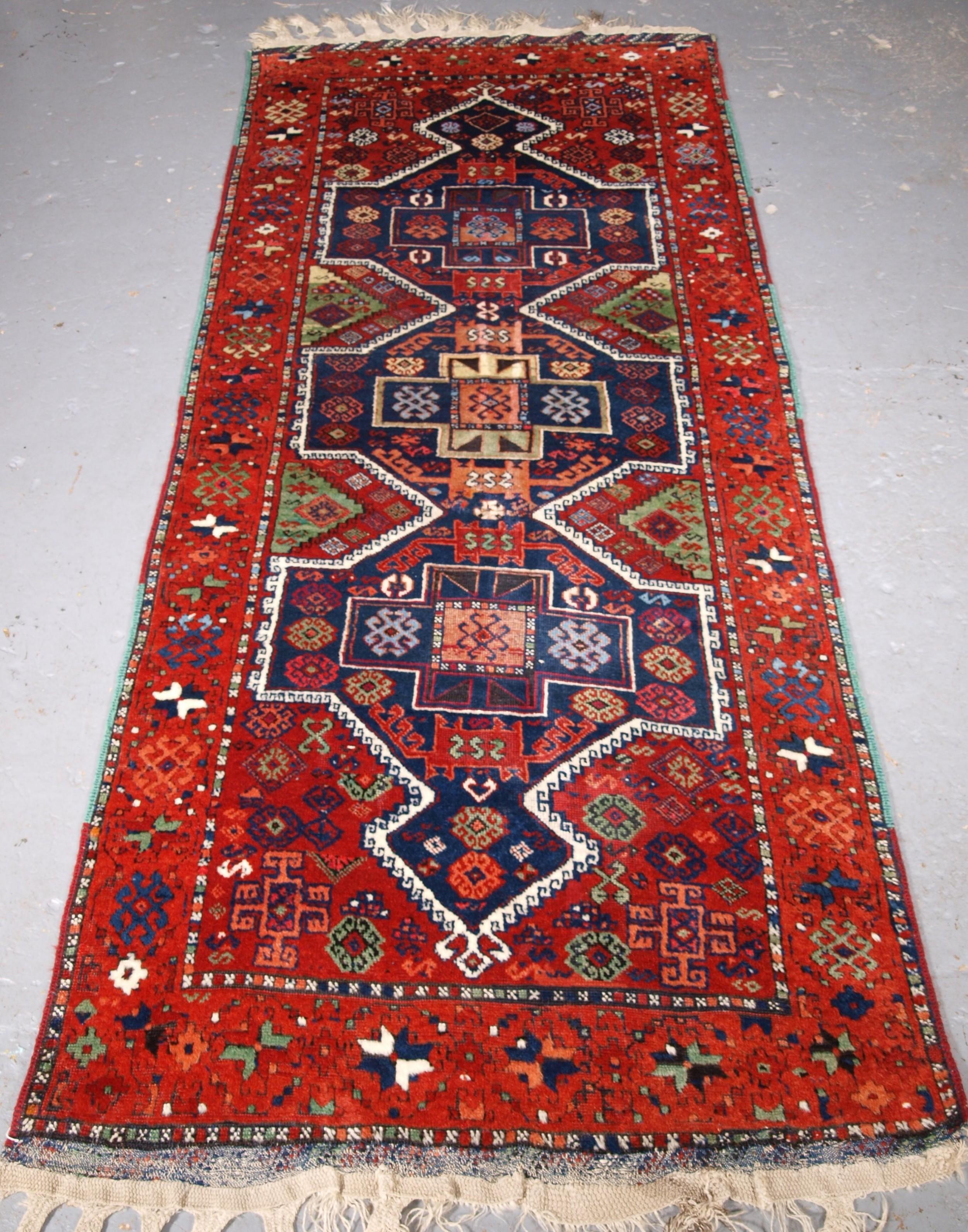 antique turkish yuruk long rug threemedallion design circa 1900