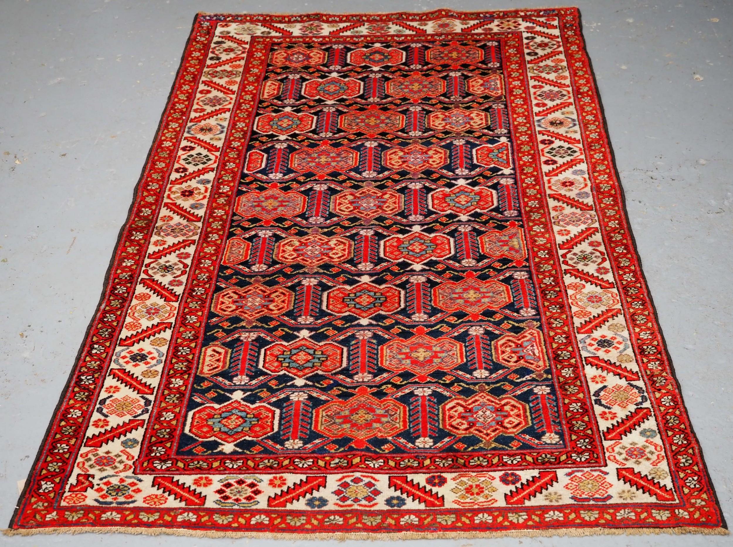 antique malayer village rug with afshar style shield design circa 190010