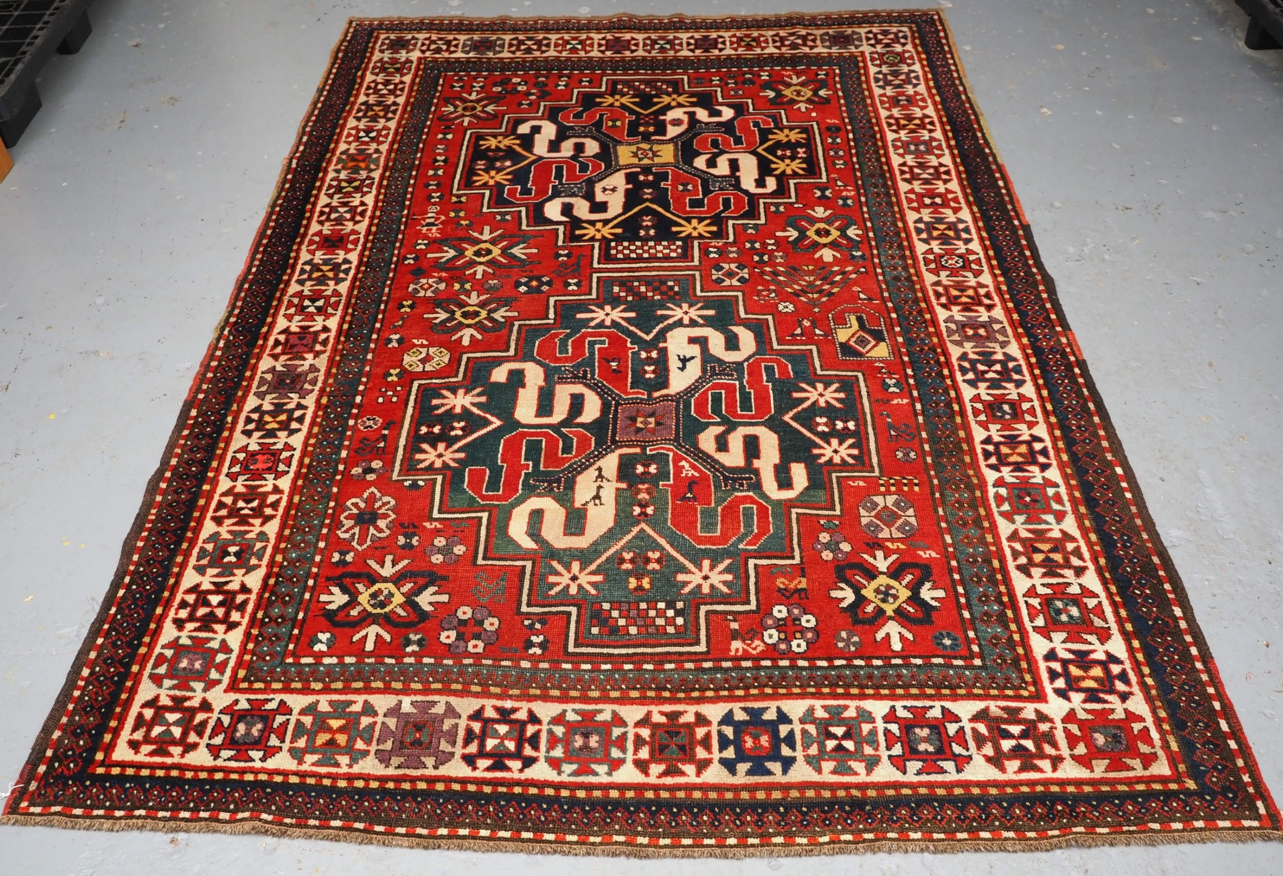 antique caucasian cloud band kazak rug great condition circa 1900