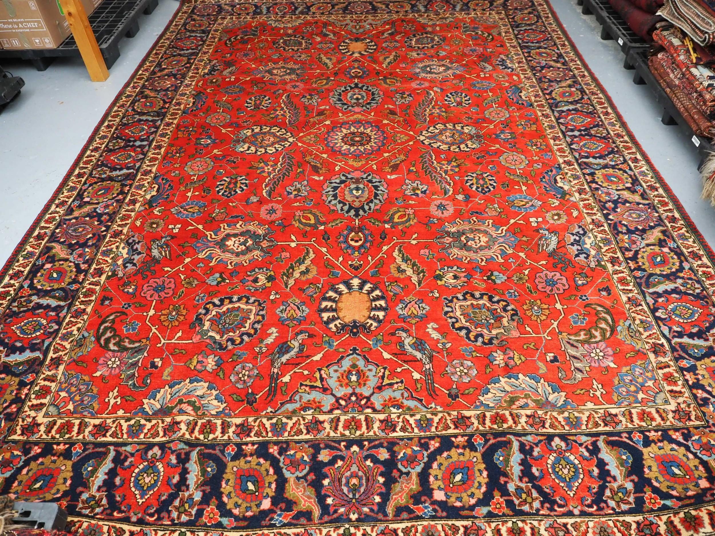 antique tabriz carpet with birds and lions excellent condition circa 190020